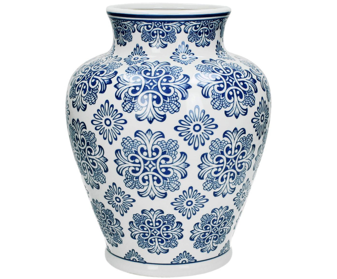 Jarrón de porcelana Lin, Porcelana, no impermeable, Blanco, azul, Ø 21 x Al 28 cm