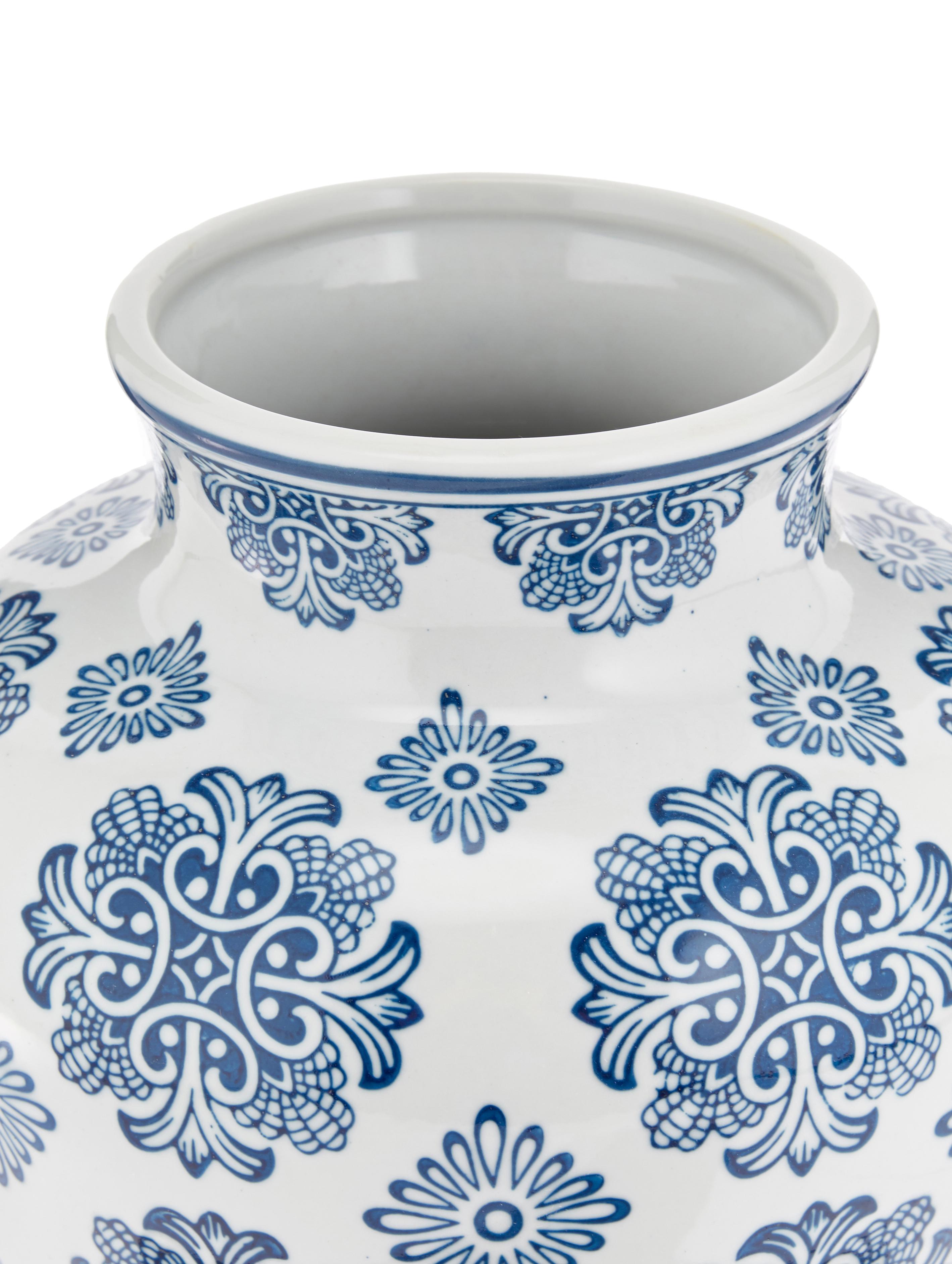 Deko-Vase Lin aus Porzellan, Porzellan, nicht wasserdicht, Weiß, Blau, Ø 21 x H 28 cm