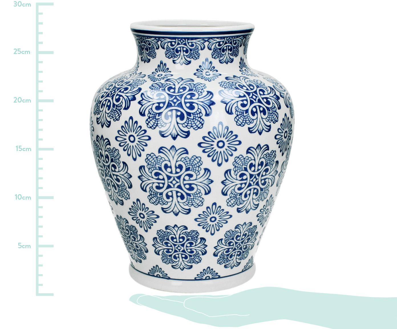 Vaso decorativo in porcellana Lin, Porcellana non impermeabile, Bianco, blu, Ø 21 x Alt. 28 cm