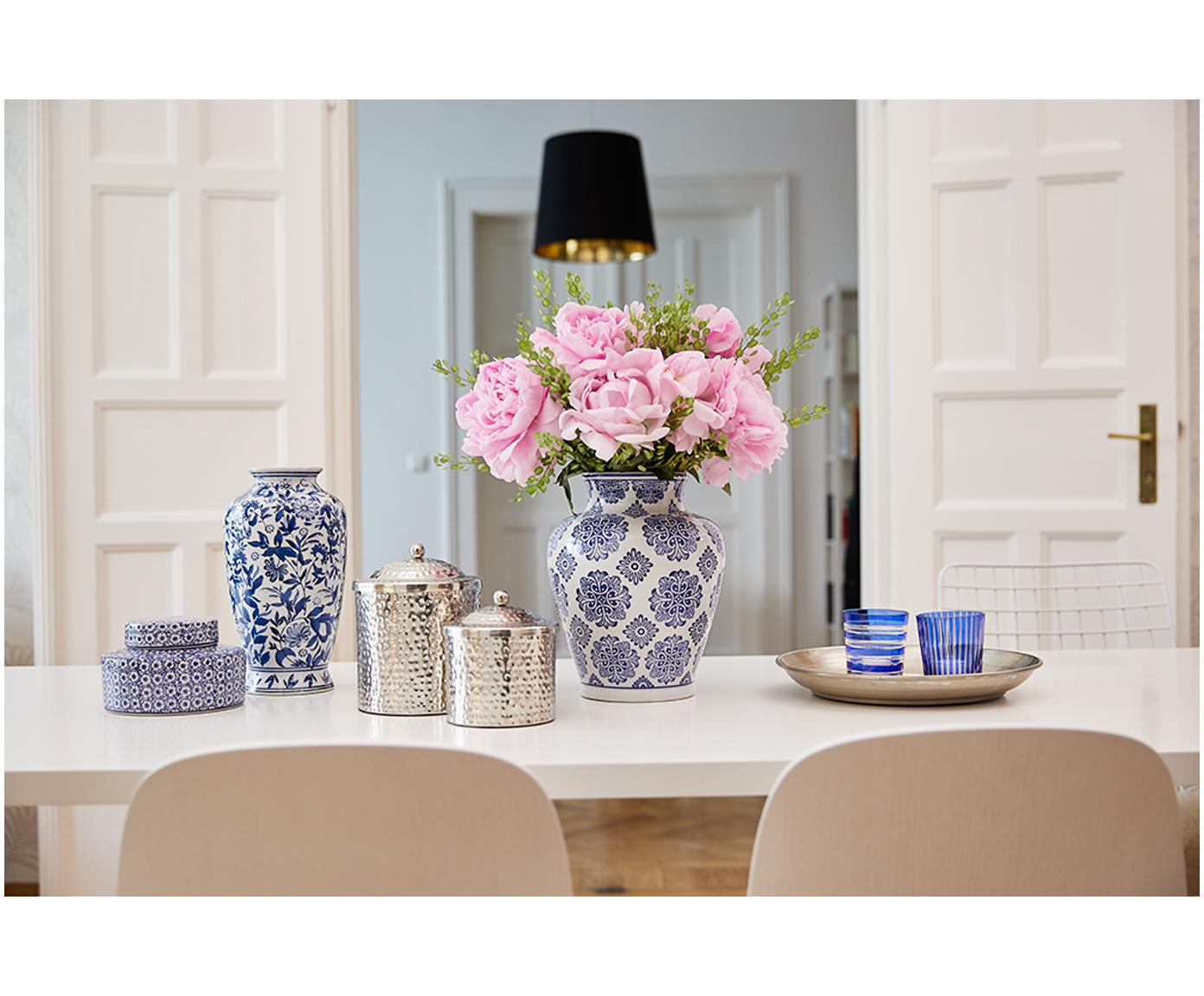 Wazon dekoracyjny z porcelany Lin, Porcelana, niewodoodporna, Biały, niebieski, Ø 21 x W 28 cm