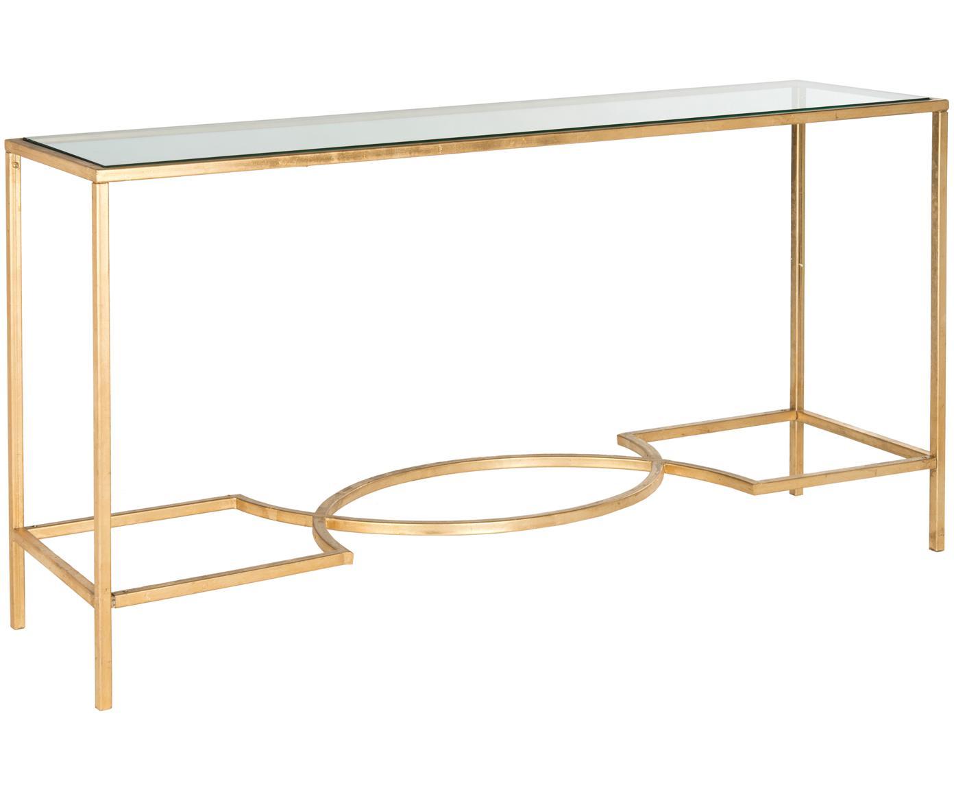 Consolle con piano in vetro Sia, Struttura: ghisa verniciata, Telaio: dorato Piatto: trasparente, Larg. 160 x Prof. 40 cm