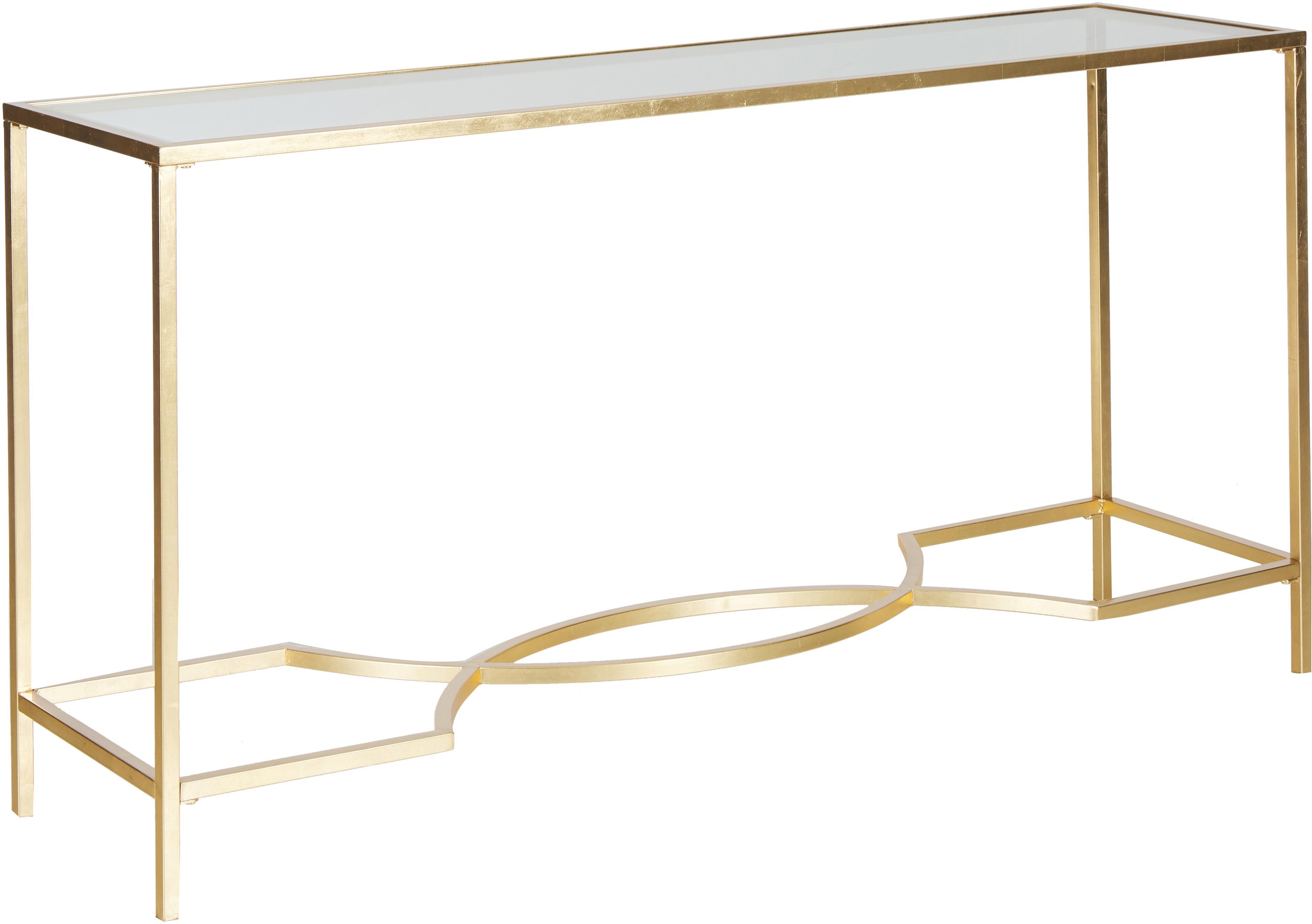 Konsola ze szklanym blatem Sia, Stelaż: metal lakierowany, Blat: szkło utwardzone, Stelaż: odcienie złotego Blat: transparentny, S 160 x G 40 cm