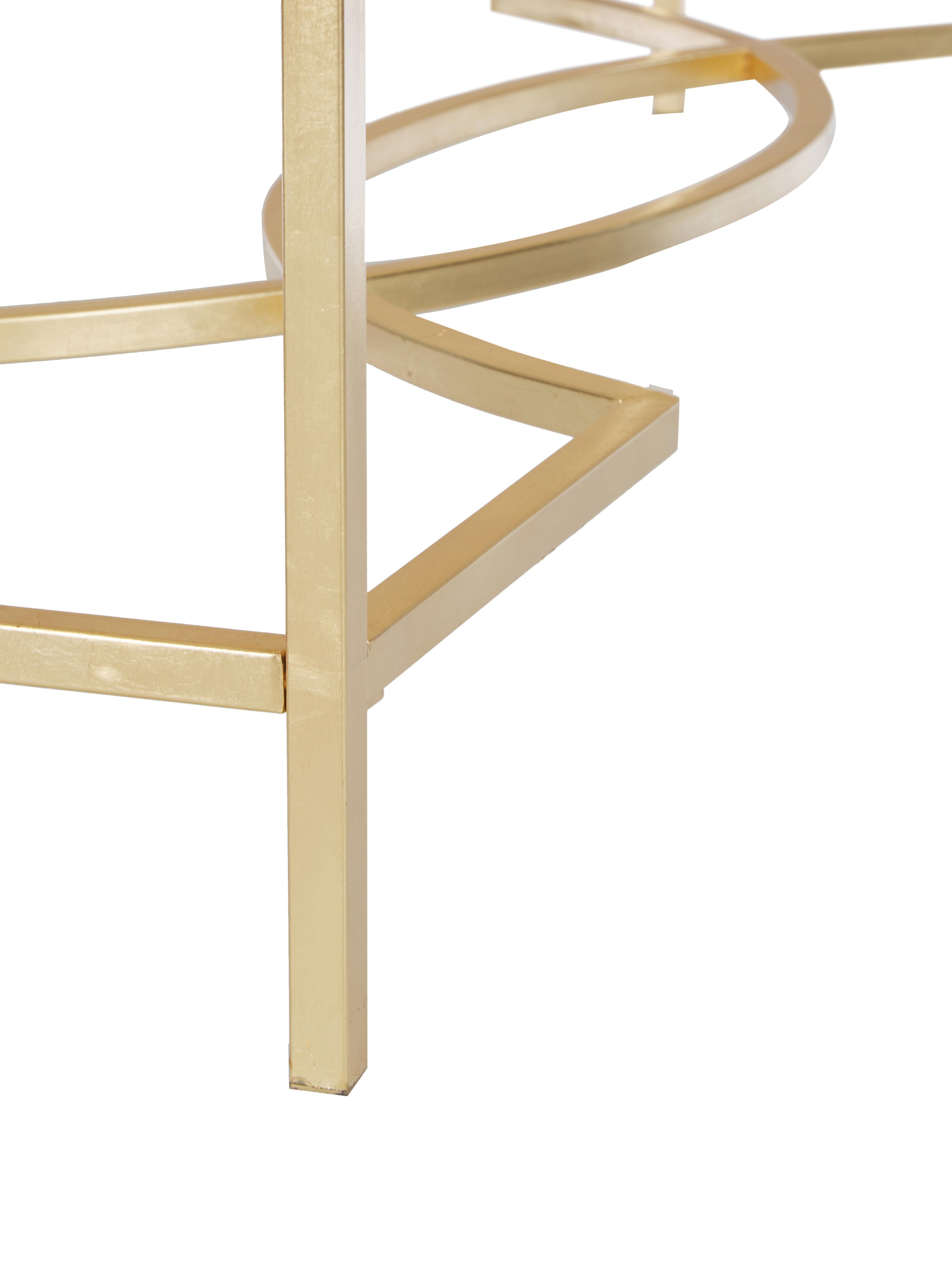 Konsole Sia mit Glasplatte, Gestell: Metall, lackiert, Platte: Glas, gehärtet, Gestell: GoldfarbenPlatte: Transparent, B 160 x T 40 cm