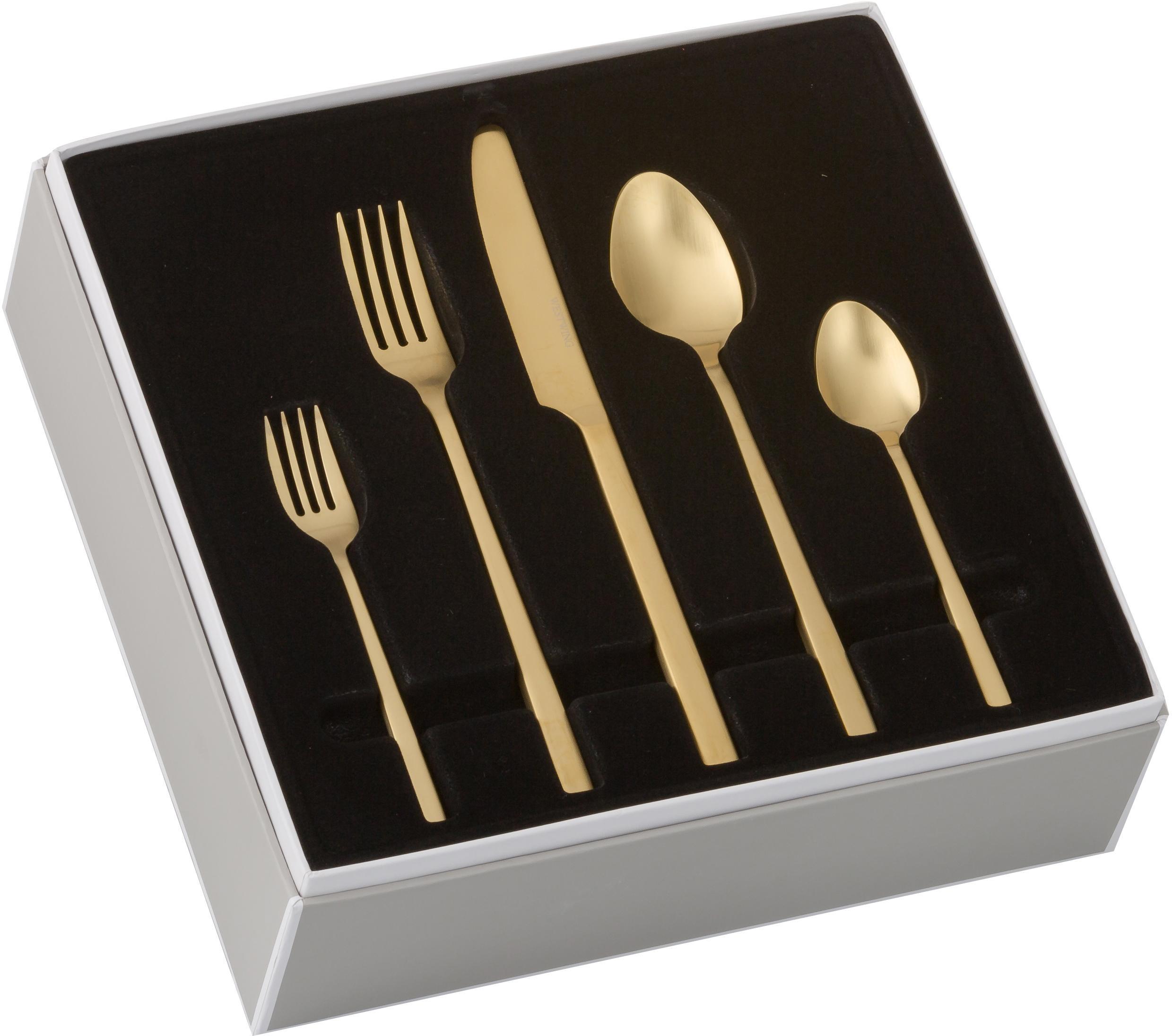 Set di posate dorate in acciaio inossidabile Shine, Coltello: acciaio inossidabile 13/0, Oro, 1 Person (5 pz.)