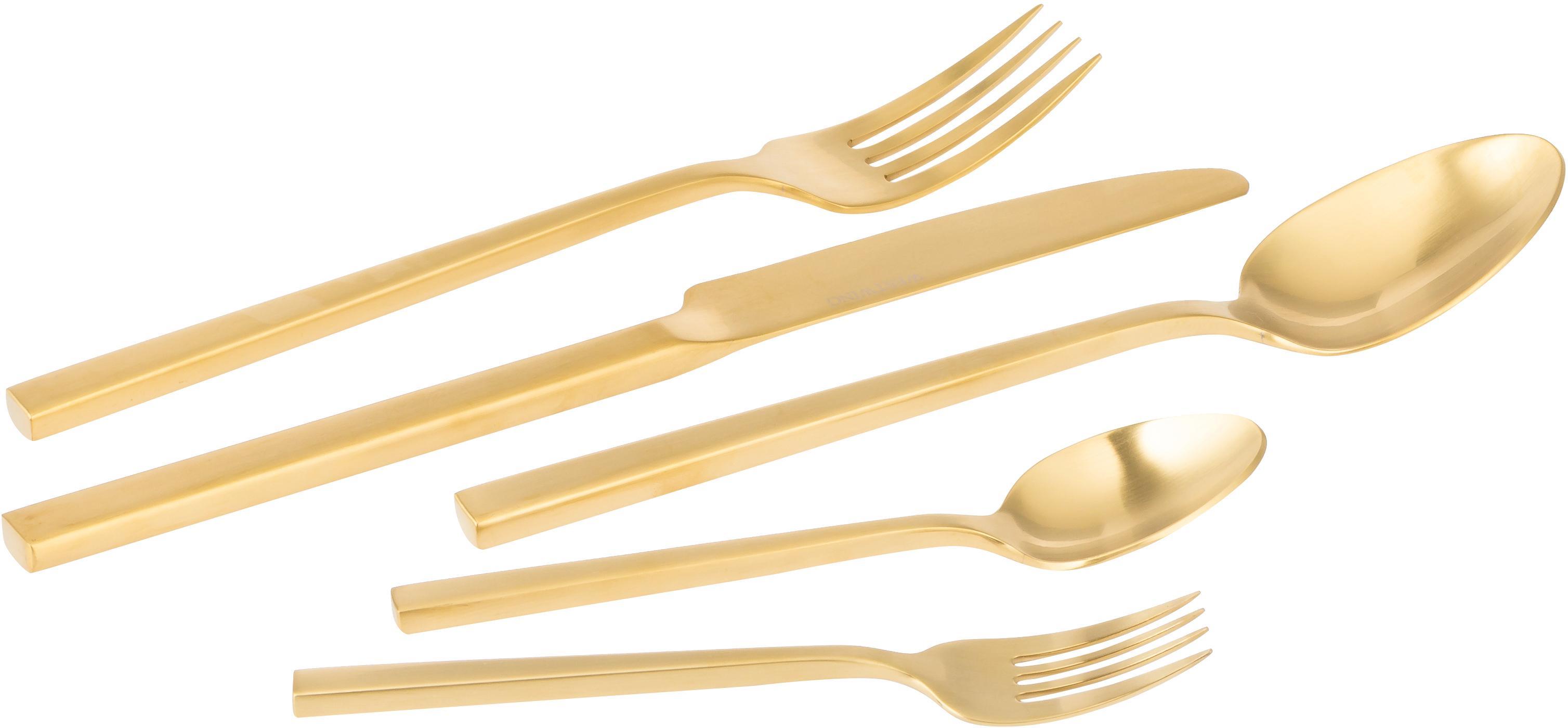 Goldfarbenes Besteck-Set Shine aus Edelstahl, in verschiedenen Setgrößen, Messer: Edelstahl 13/0, Goldfarben, 4 Personen (20-tlg.)