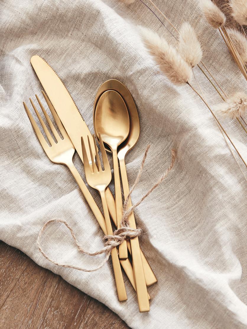 Ménagère en acier inoxydable doré, de différentes tailles Shine, Couleur dorée