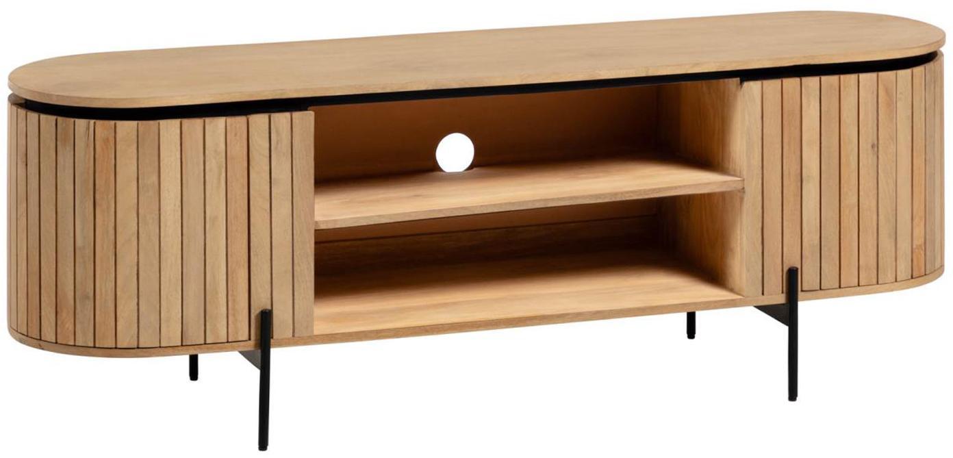 TV-Konsole Licia aus Holz mit Türen, Korpus: Mangoholz, per Hand polie, Füße: Metall, lackiert, Beige, Schwarz, 160 x 56 cm