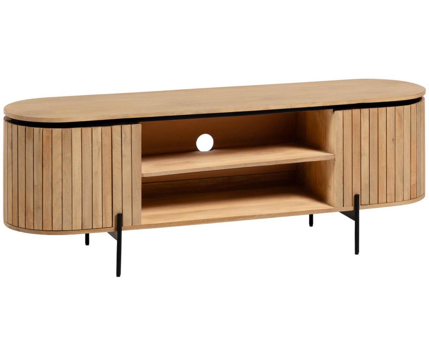 Szafka RTV z drewna z drzwiczkami Licia, Korpus: drewno mangowe, polerowan, Nogi: metal lakierowany, Beżowy, czarny, S 160 x W 56 cm