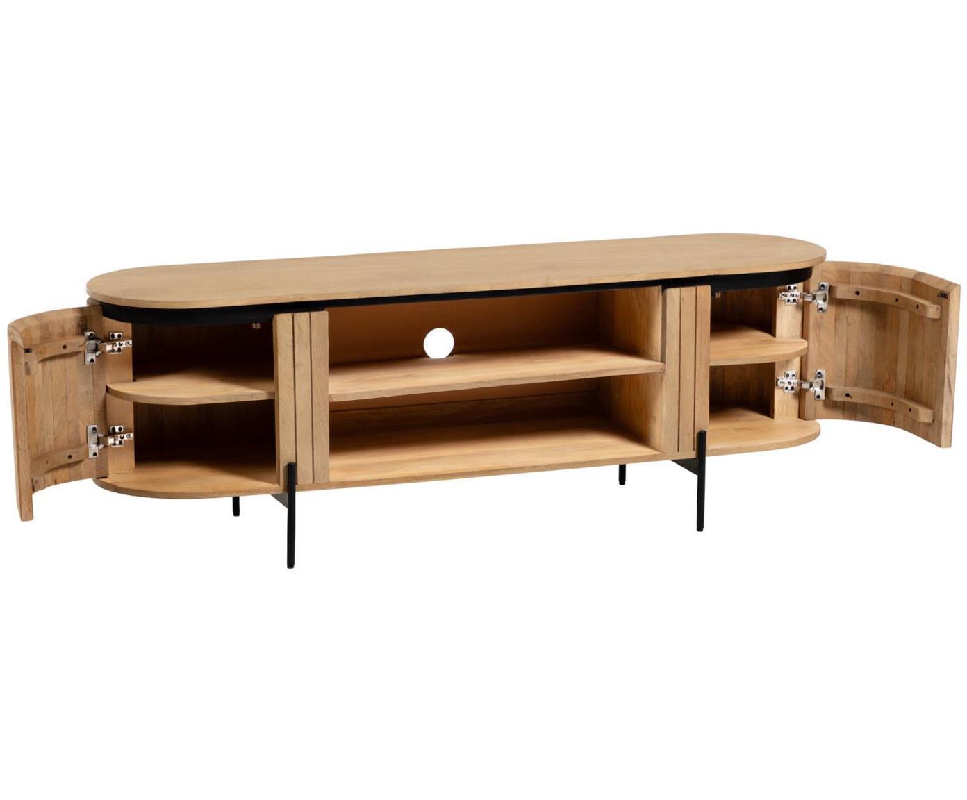 Tv-meubel Licia van hout met deuren, Hout, metaal, Beige, zwart, 160 x 56 cm