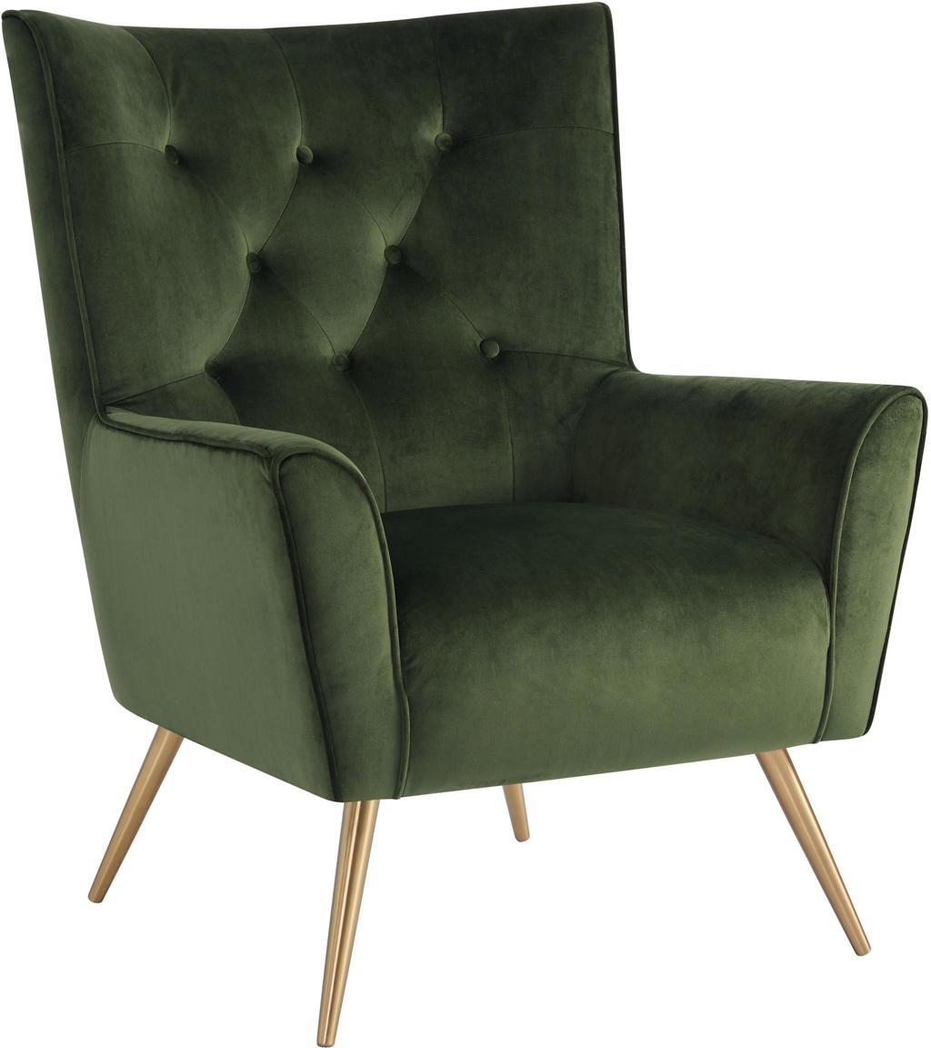 Samt-Ohrensessel Bodiva, Bezug: Polyester (Samt), Füße: Metall, lackiert, Waldgrün, Messingfarben, B 82 x T 88 cm