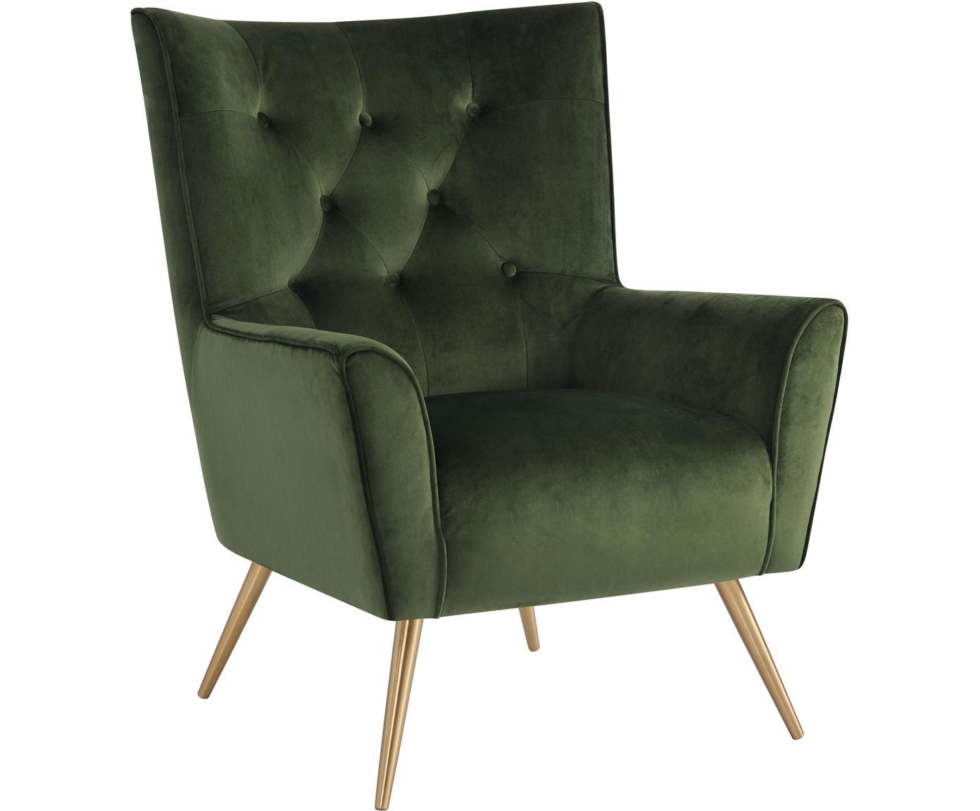 Fluwelen fauteuil Bodiva, Polyester fluweel, metaal, Woudgroen, messingkleurig, B 82 x D 88 cm