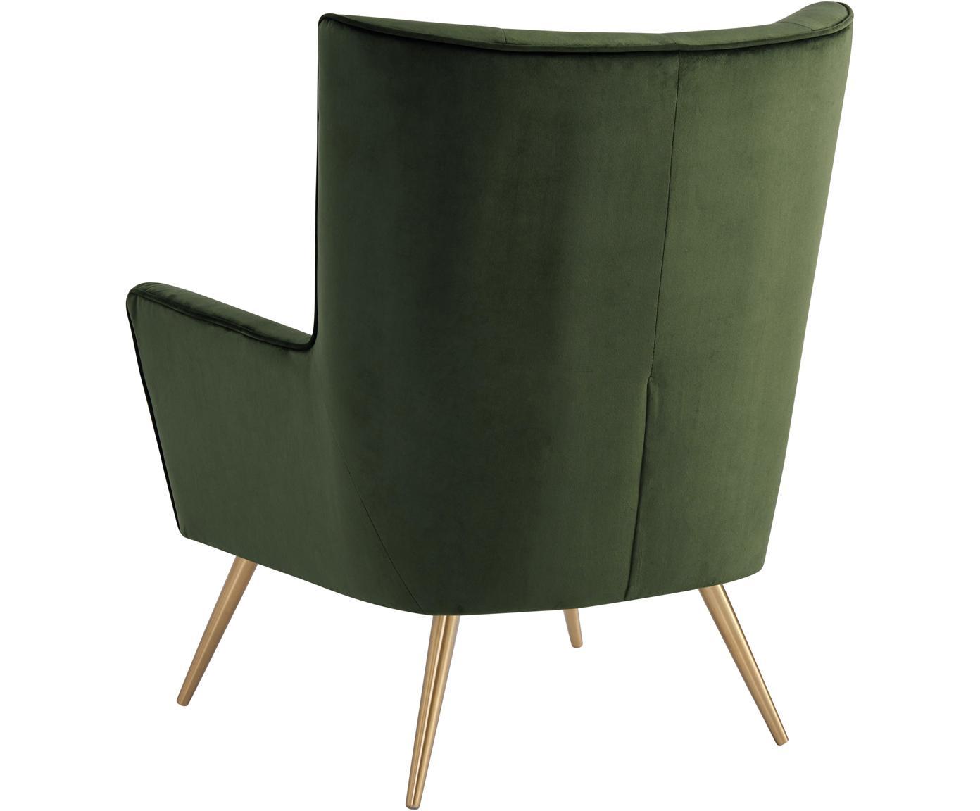 Fotel uszak z aksamitu Bodiva, Tapicerka: poliester (aksamit), Nogi: metal lakierowany, Zielony, odcienie mosiądzu, S 82 x G 88 cm