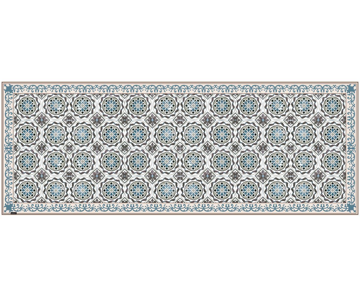 Vinyl vloermat Selina, Recyclebaar vinyl, Beige, bruin, blauw, 68 x 180 cm