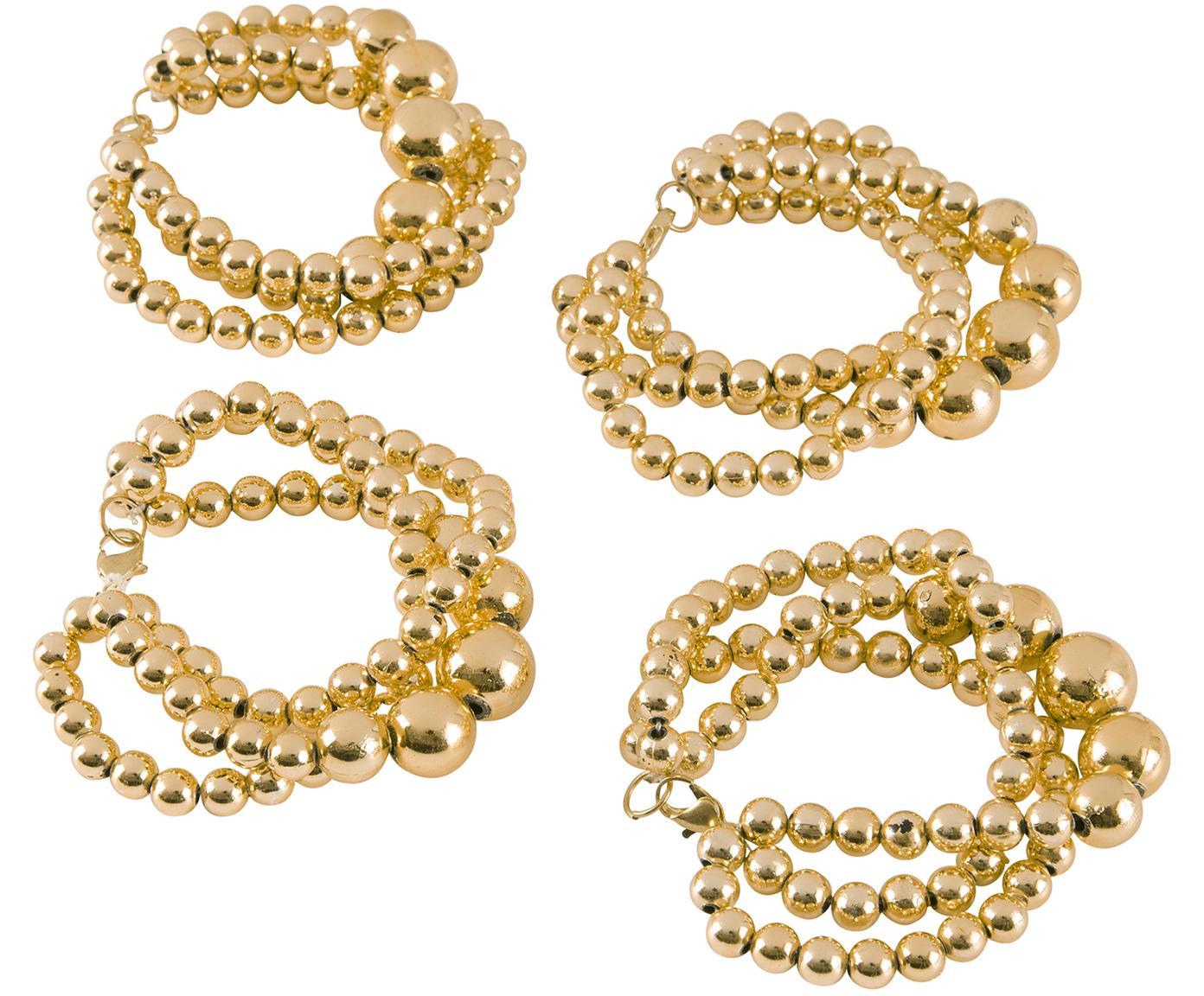 Servilleteros Perla, 4uds., Plástico, Dorado, L 15 cm