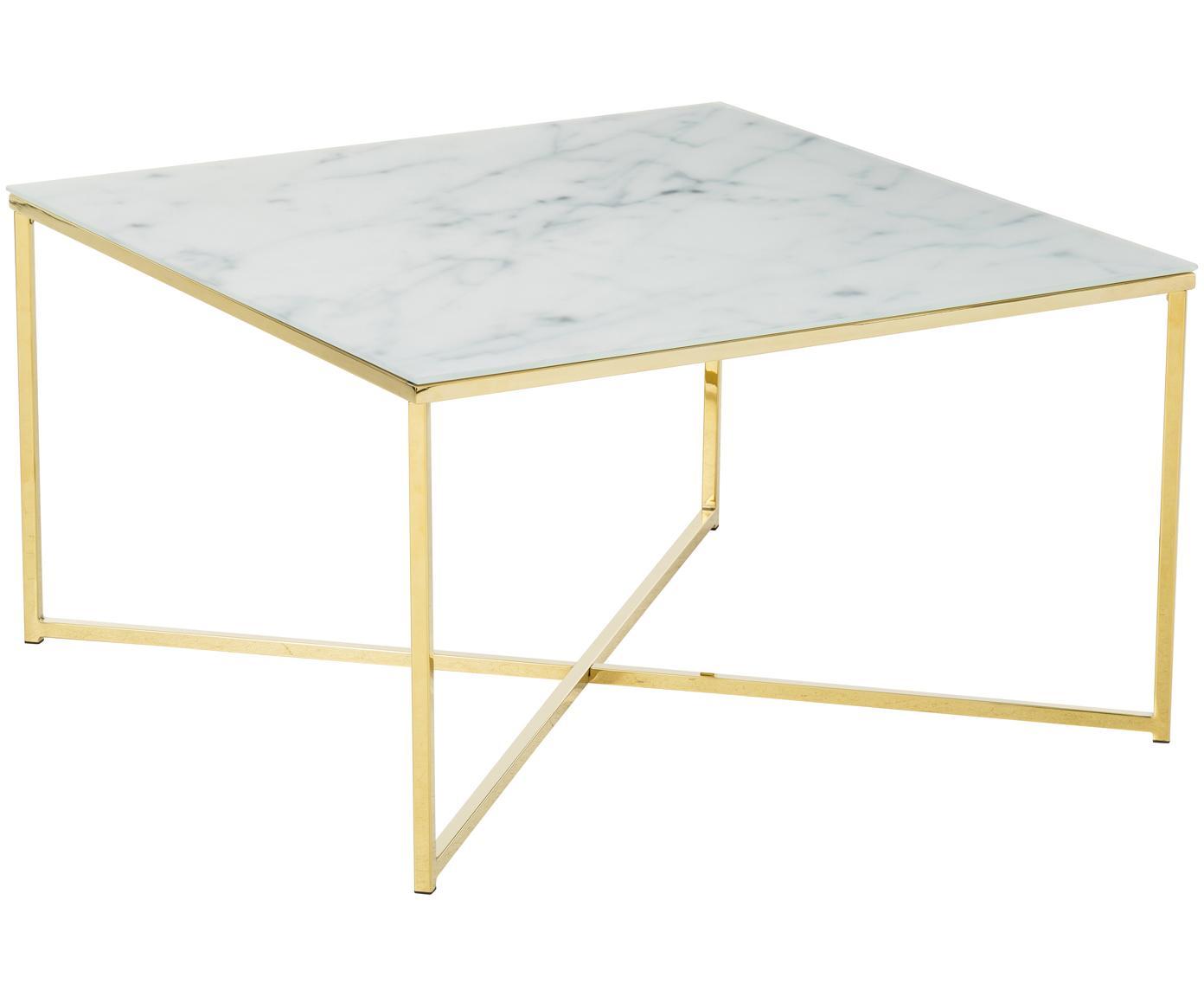 Salontafel Aruba met gemarmerde glazen tafelblad, Tafelblad: mat bedrukt veiligheidsgl, Frame: vermessingd staal, Wit, messingkleurig, 80 x 45 cm