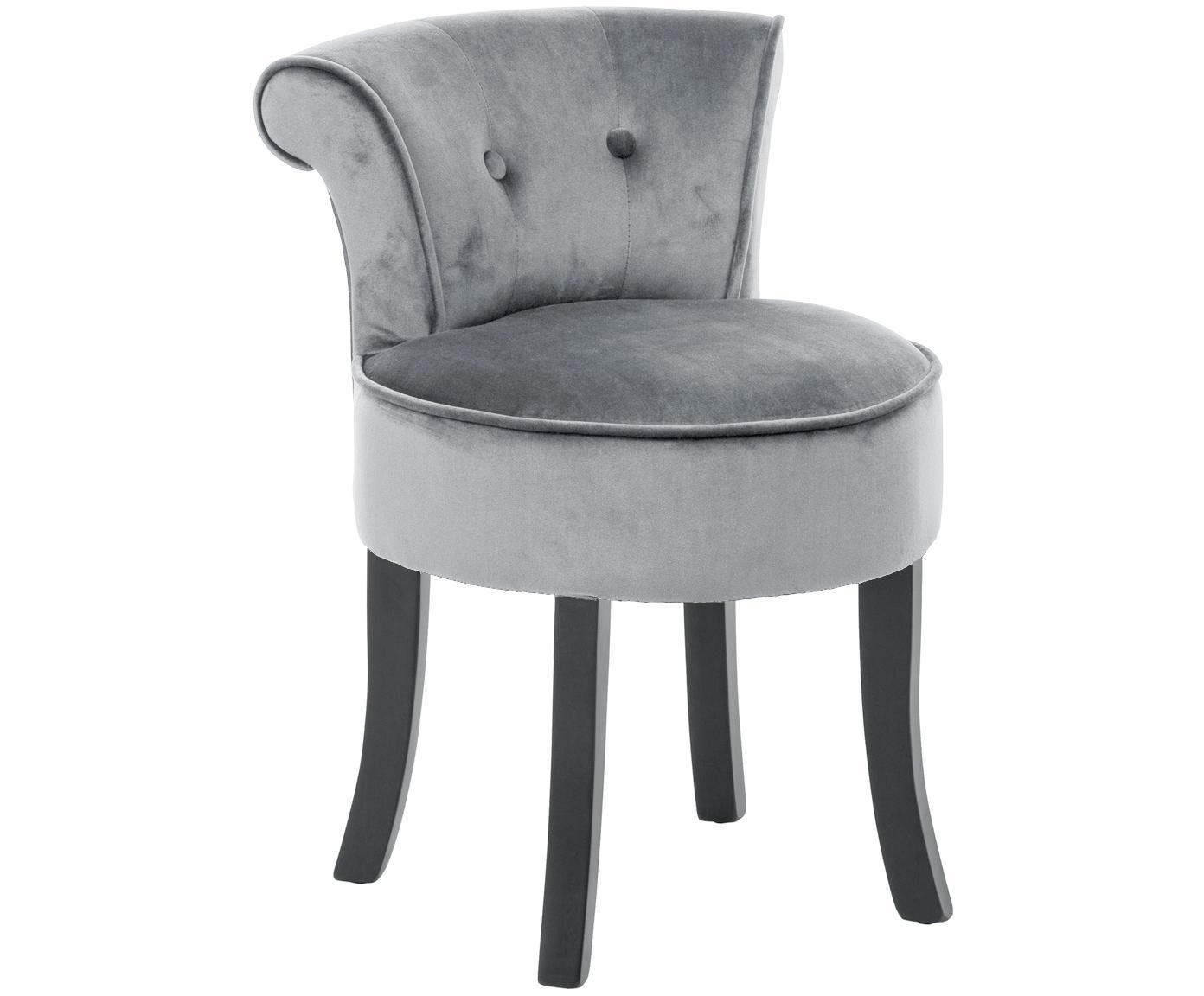 Fluwelen kruk Alison, Bekleding: katoenfluweel, Frame: hout, Poten: gelakt berkenhout, Bekleding: grijs. Poten: zwart, 48 x 65 cm