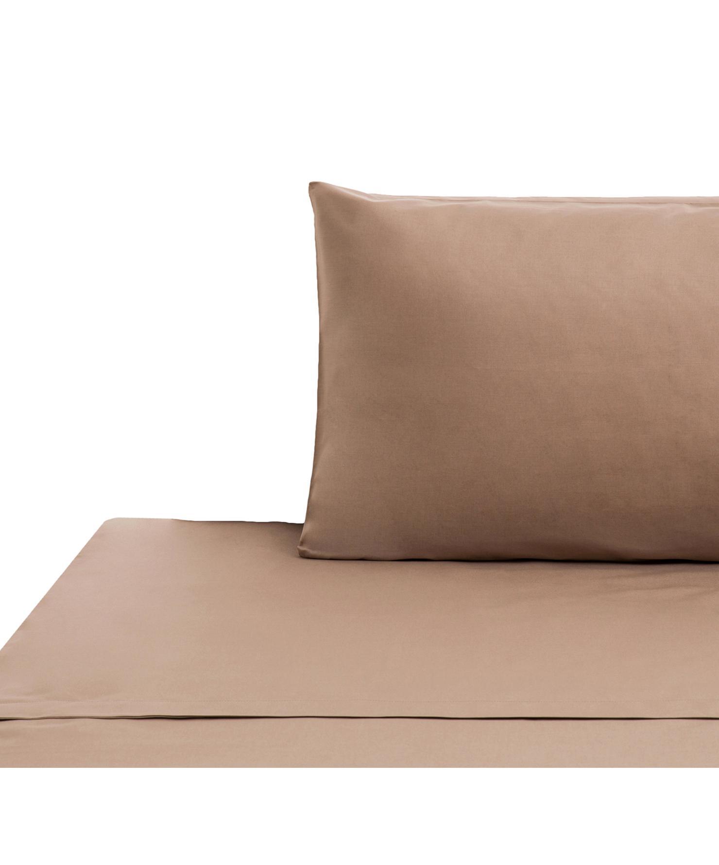 Set lenzuola in cotone ranforce Lenare 2 pz, Tessuto: Renforcé, Fronte e retro: taupe, 150 x 290 cm