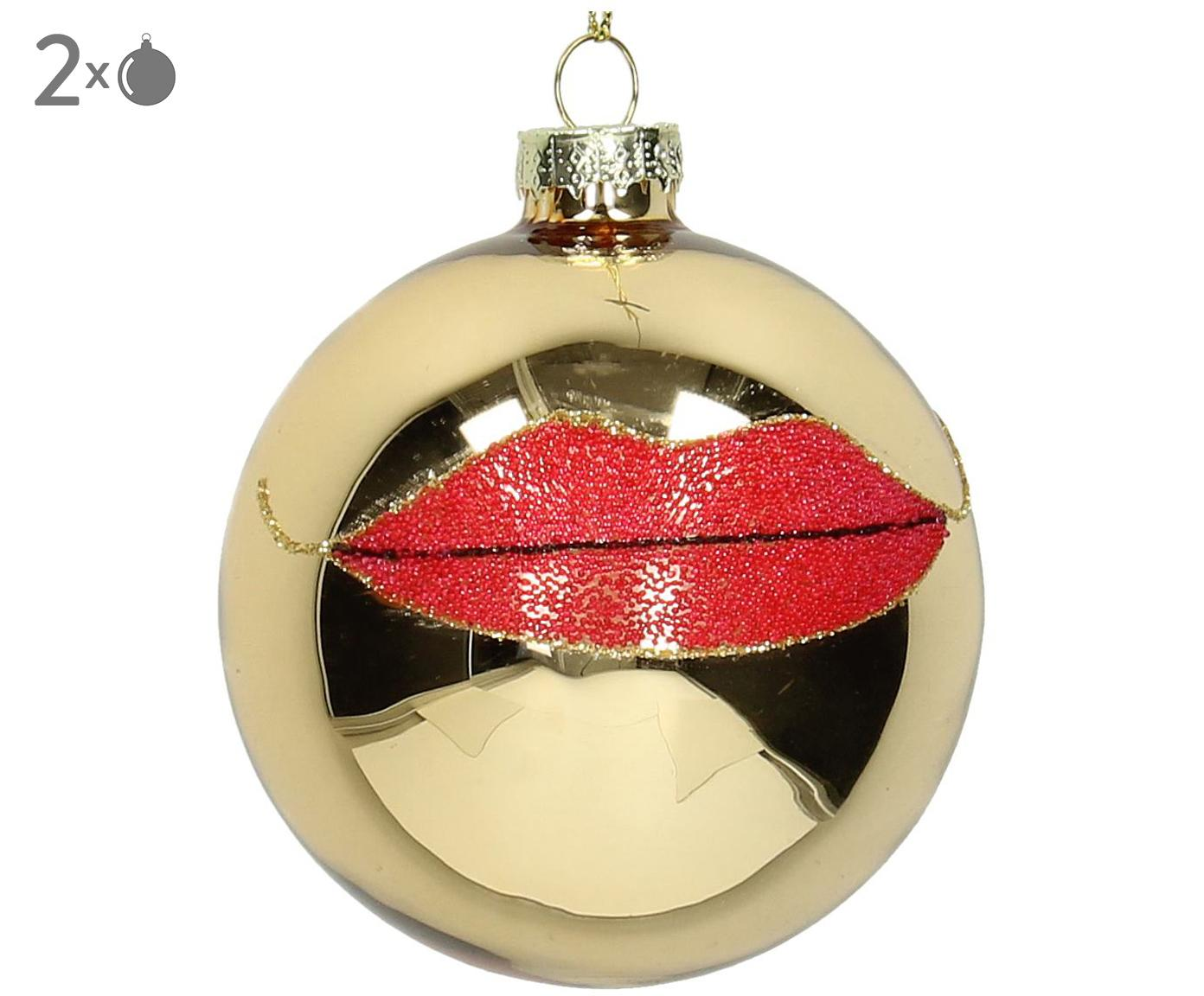 Kerstboomhangers Lips, 2 stuks, Goudkleurig, rood, glanzend, Ø 8 cm