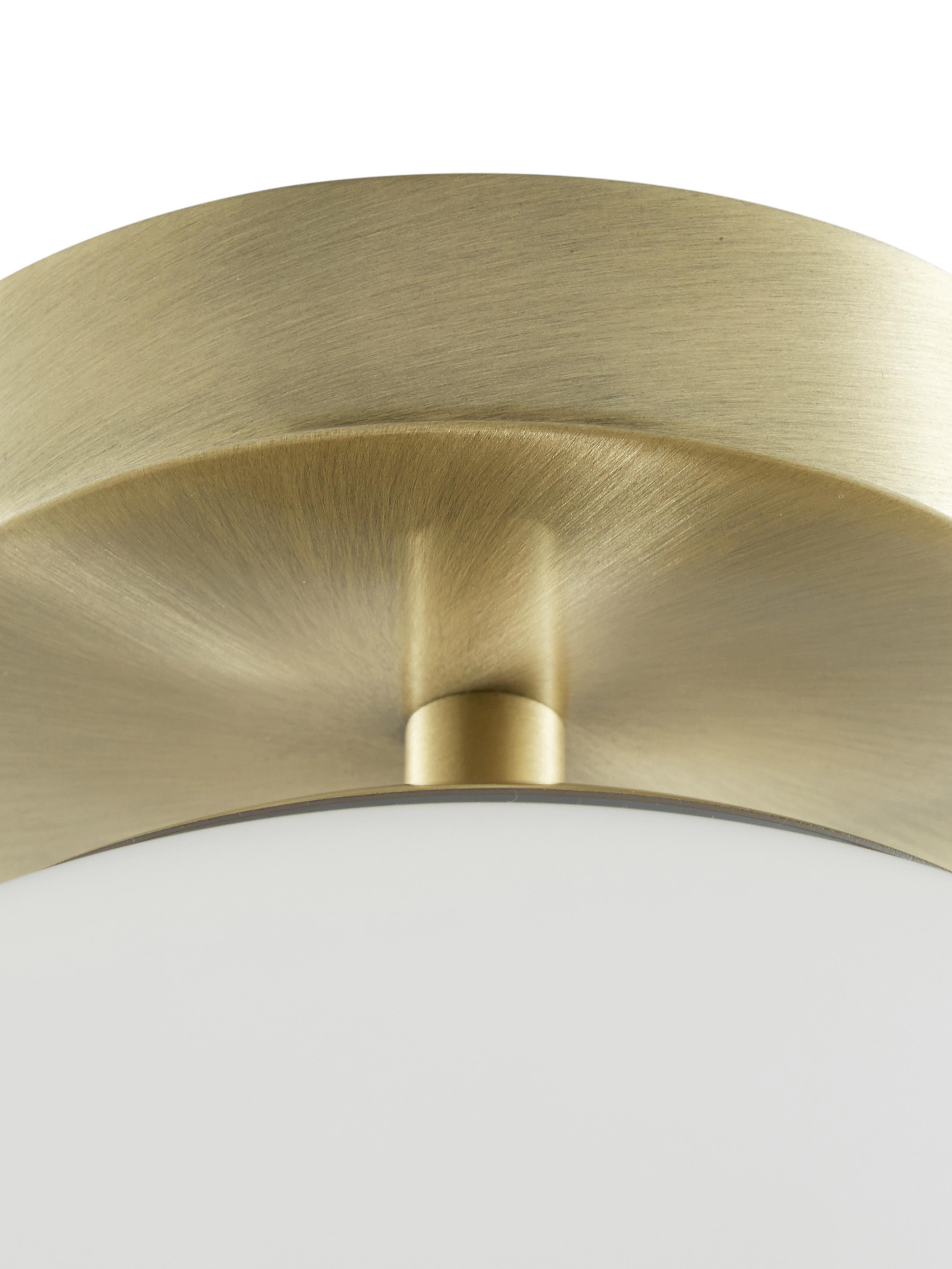 Lampa sufitowa ze szkła Hitch, Osłona mocowania sufitowego i oprawa: mosiądz, matowy Klosz: biały, Ø 25 x W 30 cm