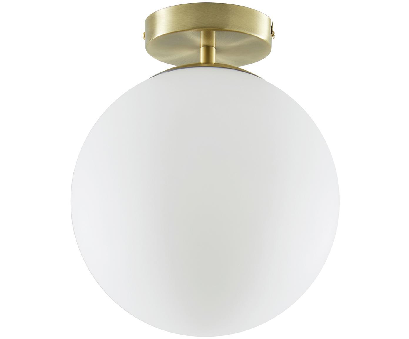Plafón Hitch, Pantalla: vidrio, Latón, blanco, Ø 25 x Al 30 cm
