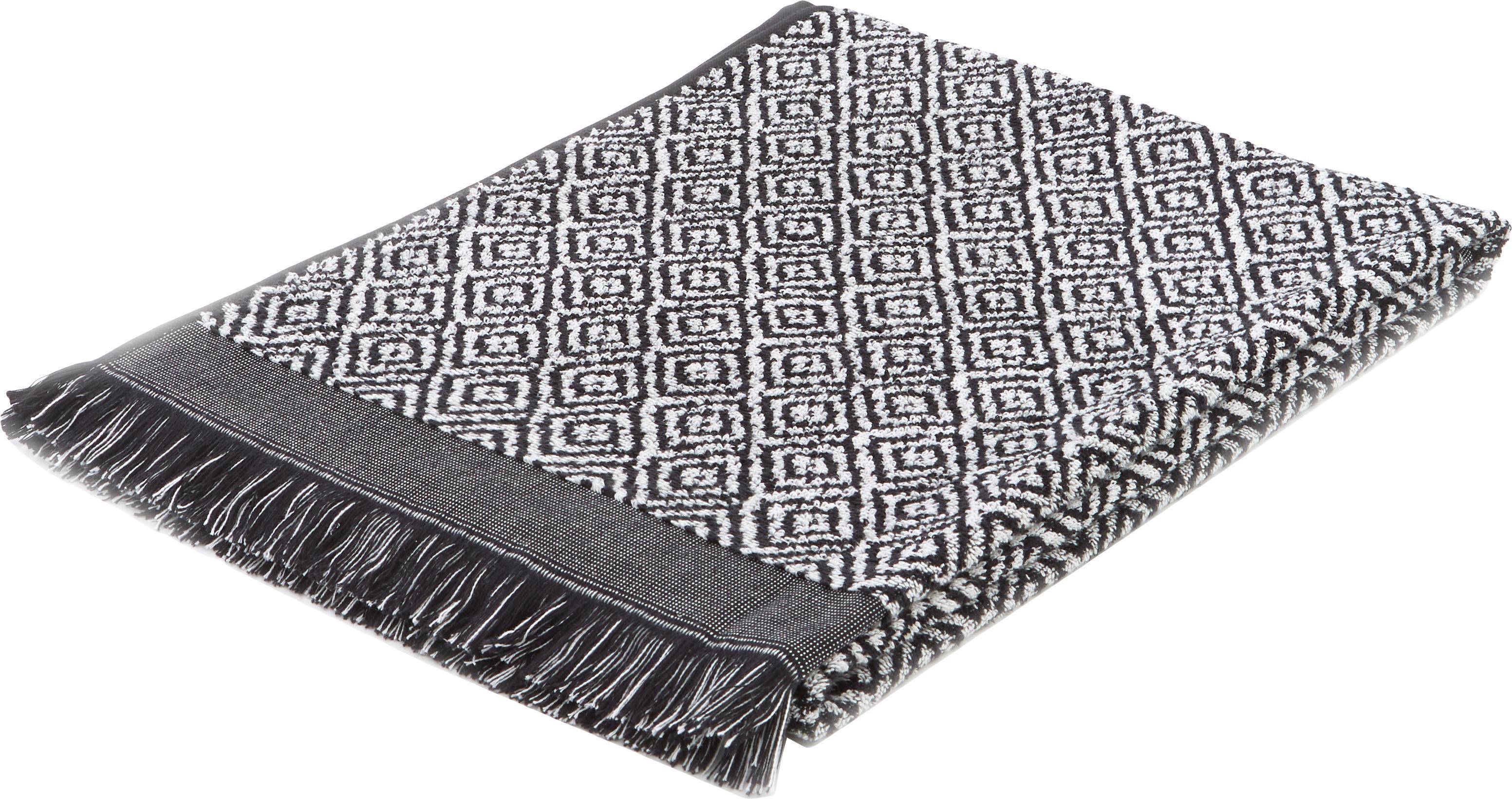 Handtuch Morocco in verschiedenen Grössen, mit Rautenmuster, Schwarz, Weiss, Duschtuch