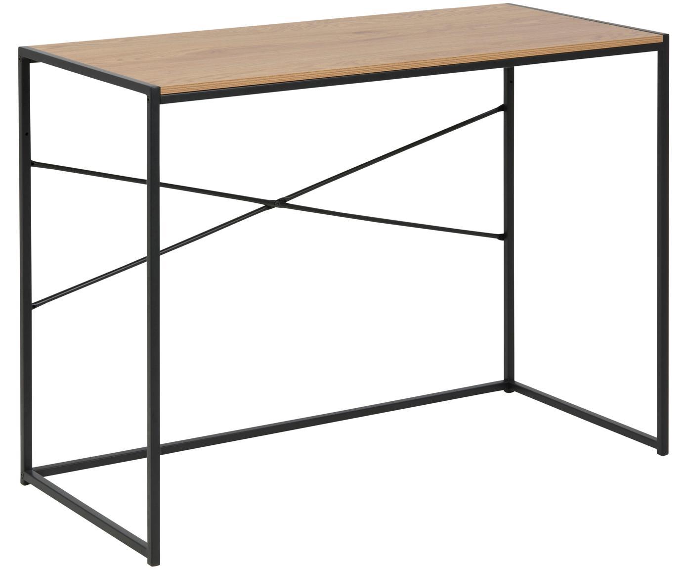 Smal bureau Seaford in industrieel ontwerp, Tafelblad: gecoat MDF, Frame: gepoedercoat metaal, Tafelblad: eikenhoutkleurig. Frame: zwart, B 100 x D 45 cm