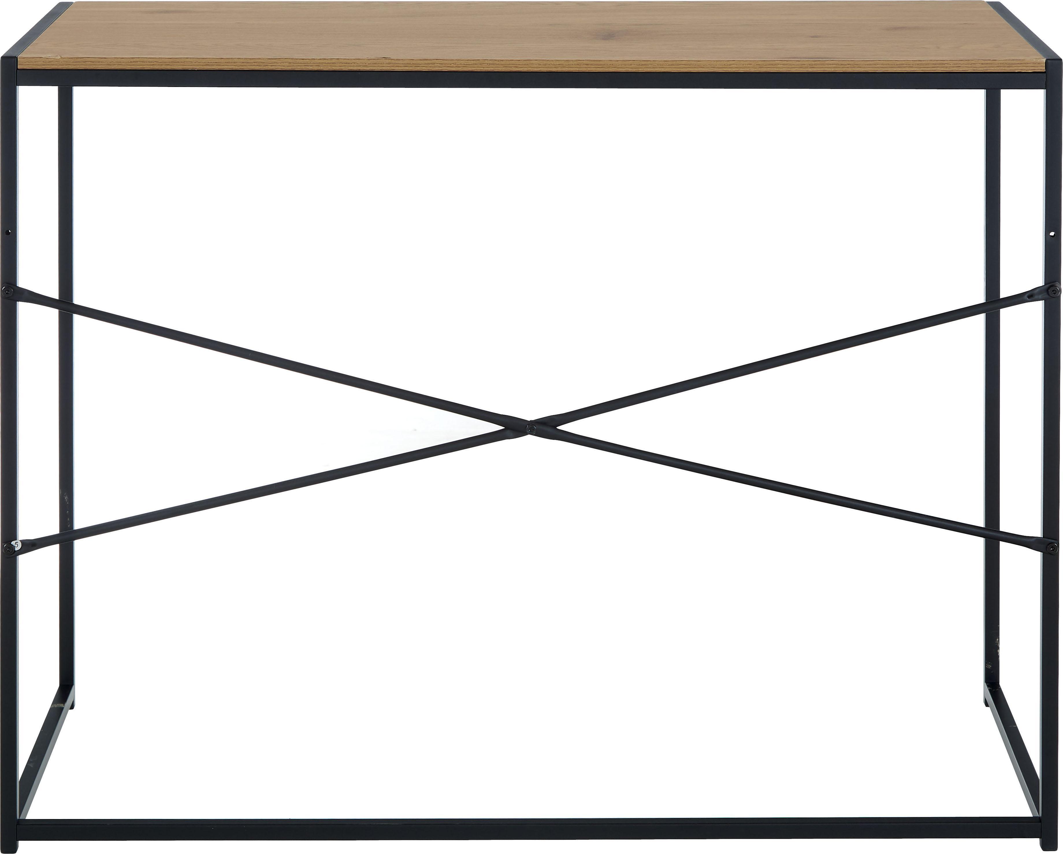 Schmaler Schreibtisch Seaford aus Holz und Metall, Tischplatte: Mitteldichte Holzfaserpla, Gestell: Metall, pulverbeschichtet, Tischplatte: Wildeiche Gestell: Schwarz, B 100 x T 45 cm