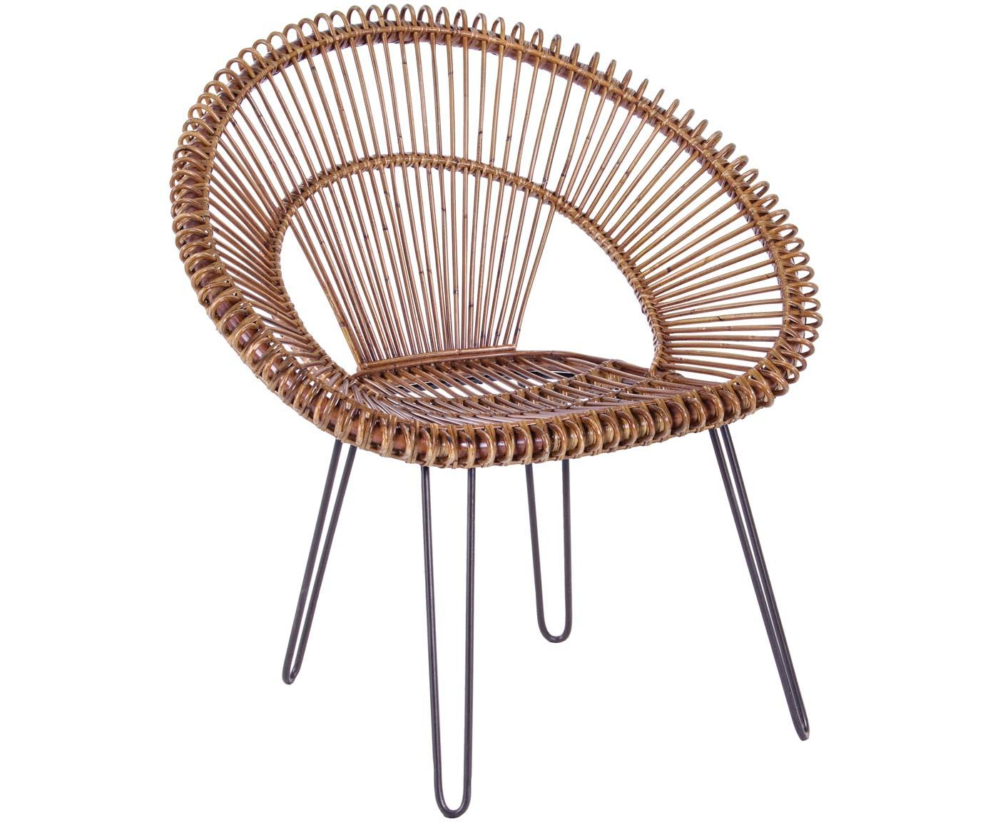 Rattan-Sessel Esteban, Sitzschale: Rattan, Beine: Stahl, Sitzschale: Rattan<br>Beine: Stahl, 64 x 89 cm