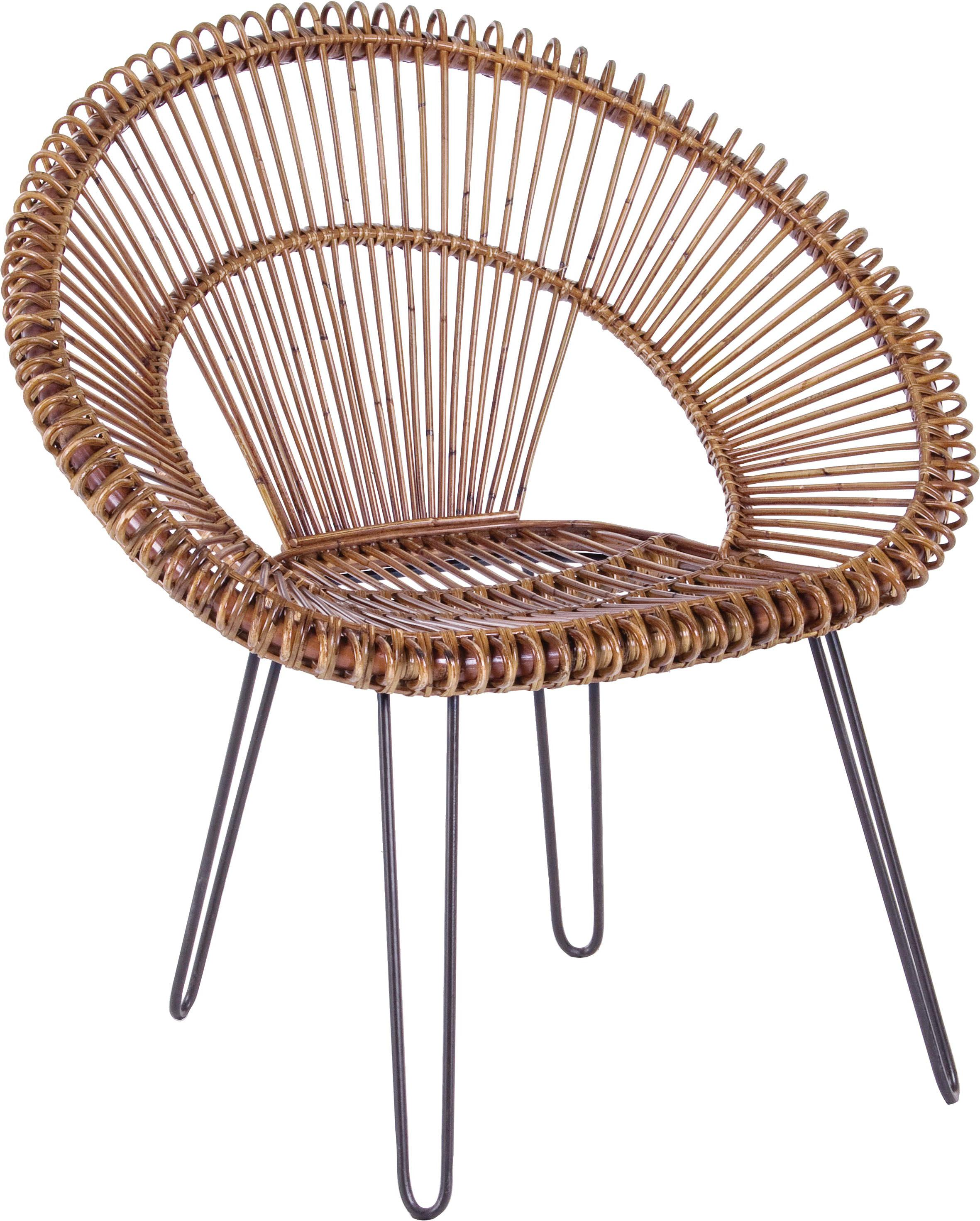 Rotan fauteuil Esteban, Zitvlak: rotan, Poten: staal, Zitvlak: rotankleurig. Poten: staalkleurig, 64 x 89 cm