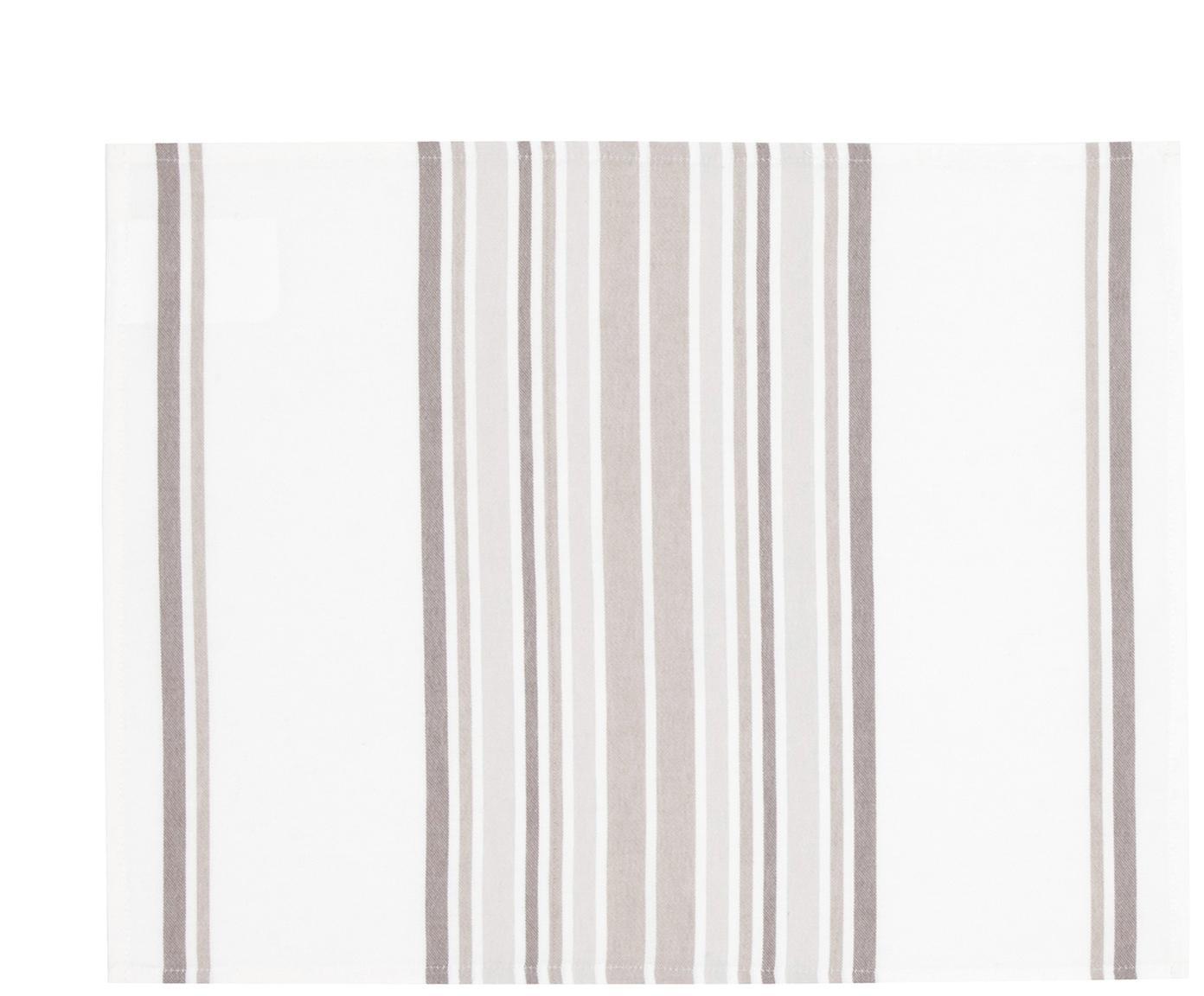 Tischsets Katie, 2 Stück, Baumwolle, Weiß, Beige, 40 x 50 cm