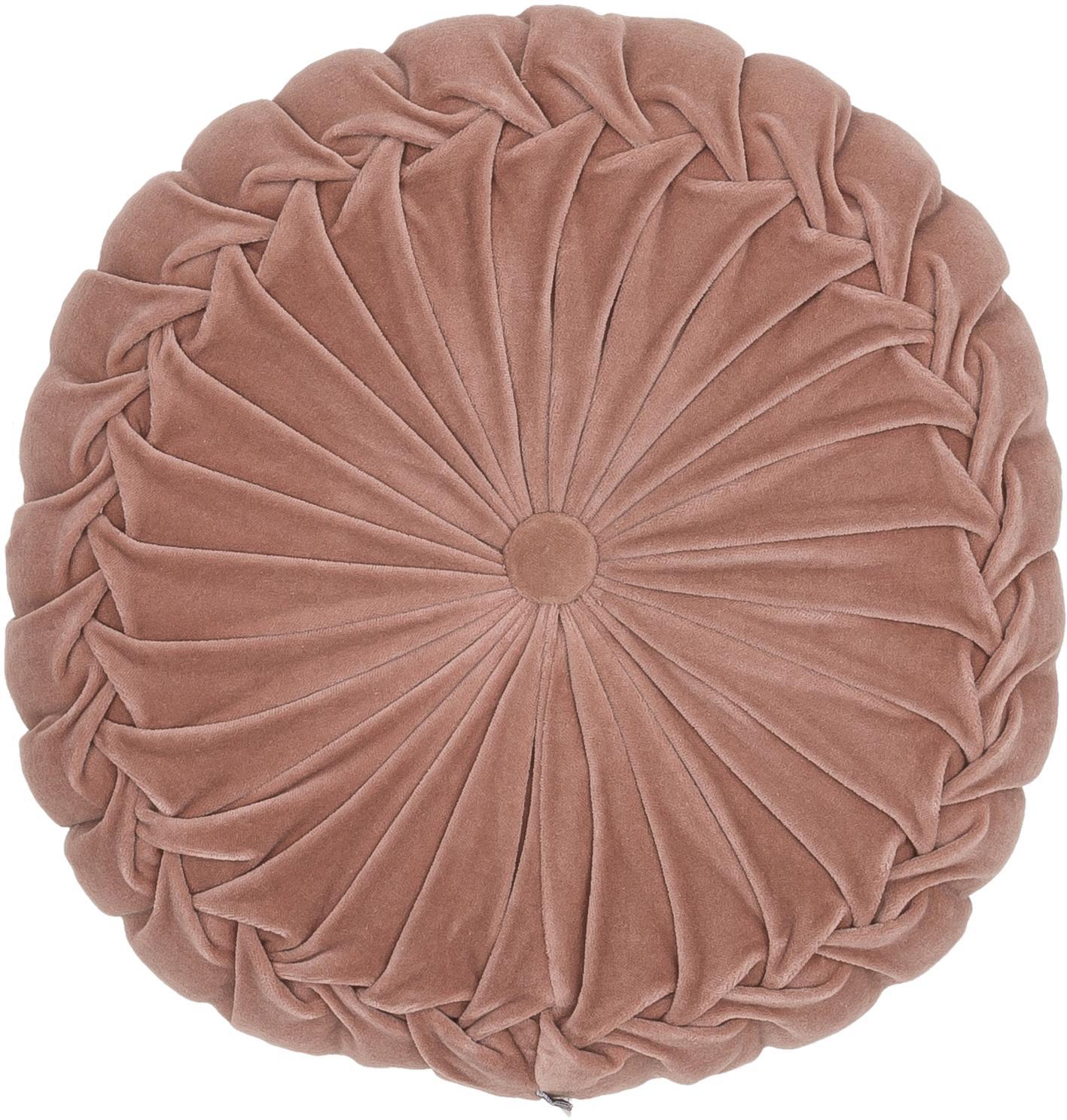 Rundes Samt-Kissen Kanan mit Raffungen, mit Inlett, Altrosa, Ø 40 cm