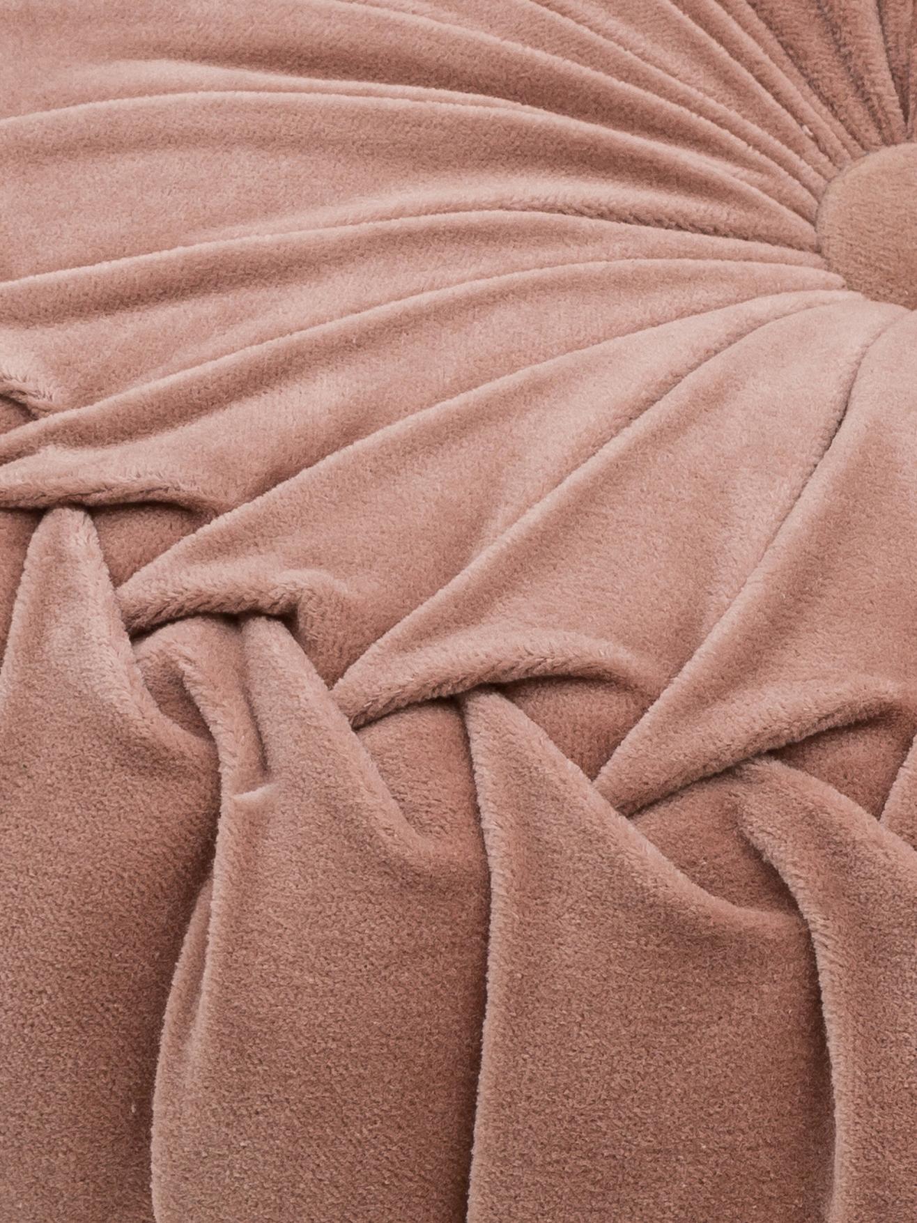 Kulatý sametový polštář svolánky Kanan, svýplní, Starorůžová