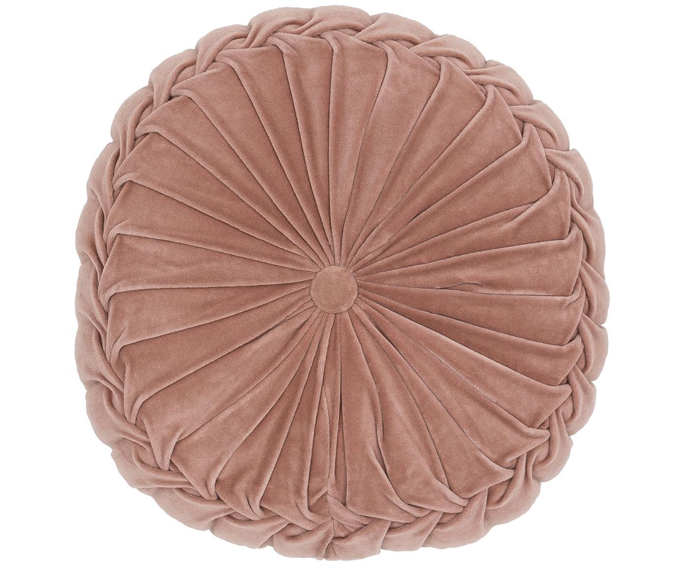 Okrągła poduszka  z aksamitu z wypełnieniem Kanan, Brudny różowy, Ø 40