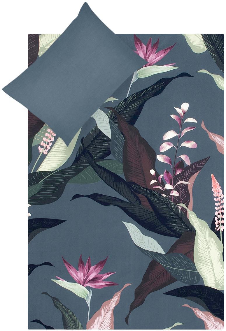 Parure copripiumino reversibile in raso di cotone Flora, Tessuto: raso Densità del filo 210, Fronte: multicolore Retro: grigio scuro, 155 x 200 cm
