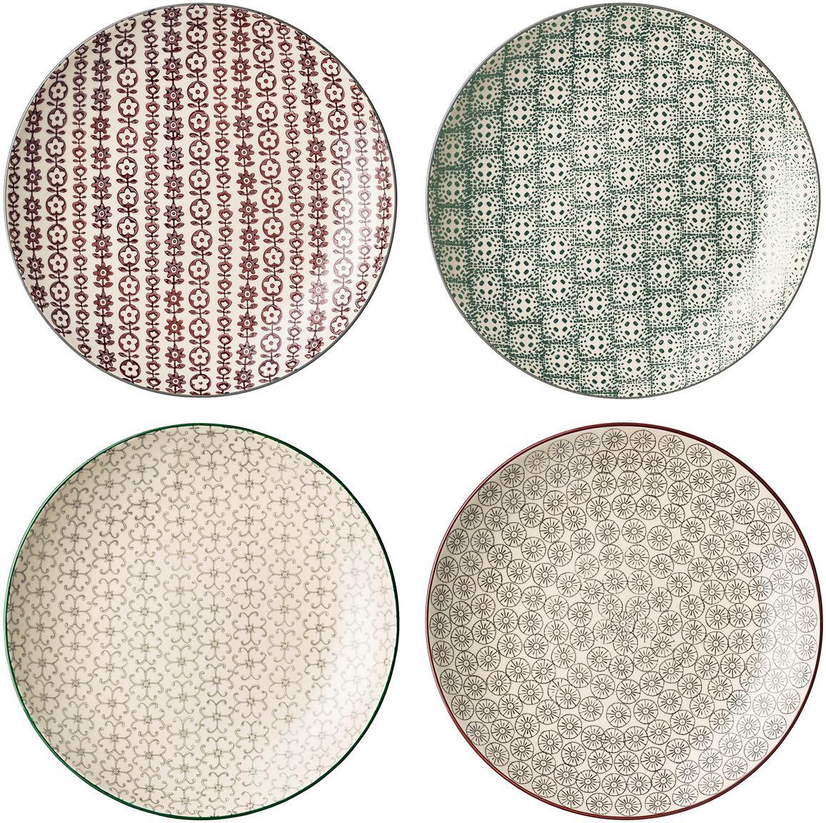 Speiseteller Karine mit kleinem Muster, 4er-Set, Steingut, Mehrfarbig, Ø 25 cm