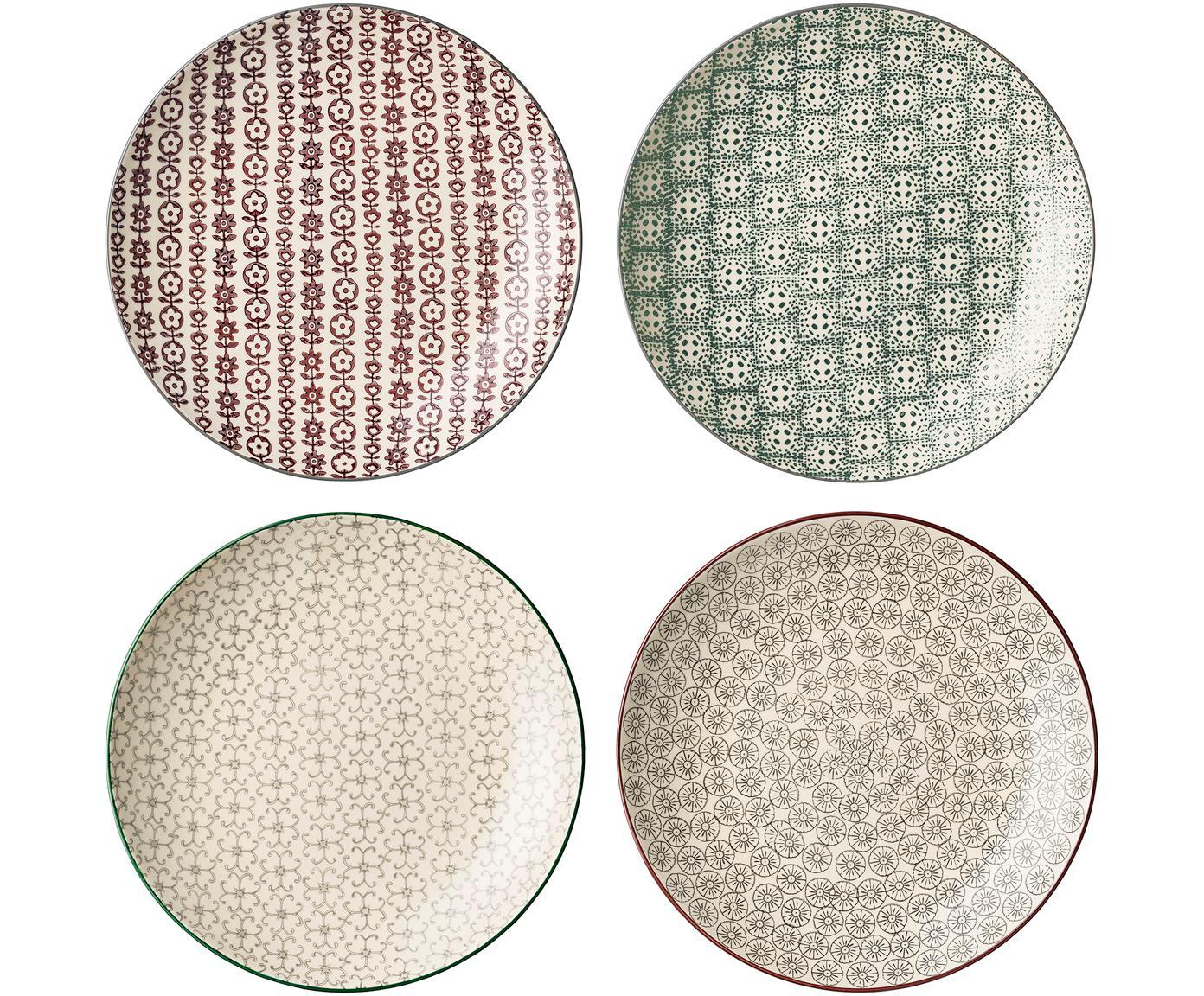 Set de platos llanos Karine, 4pzas., Gres, Multicolor, Ø 25 cm
