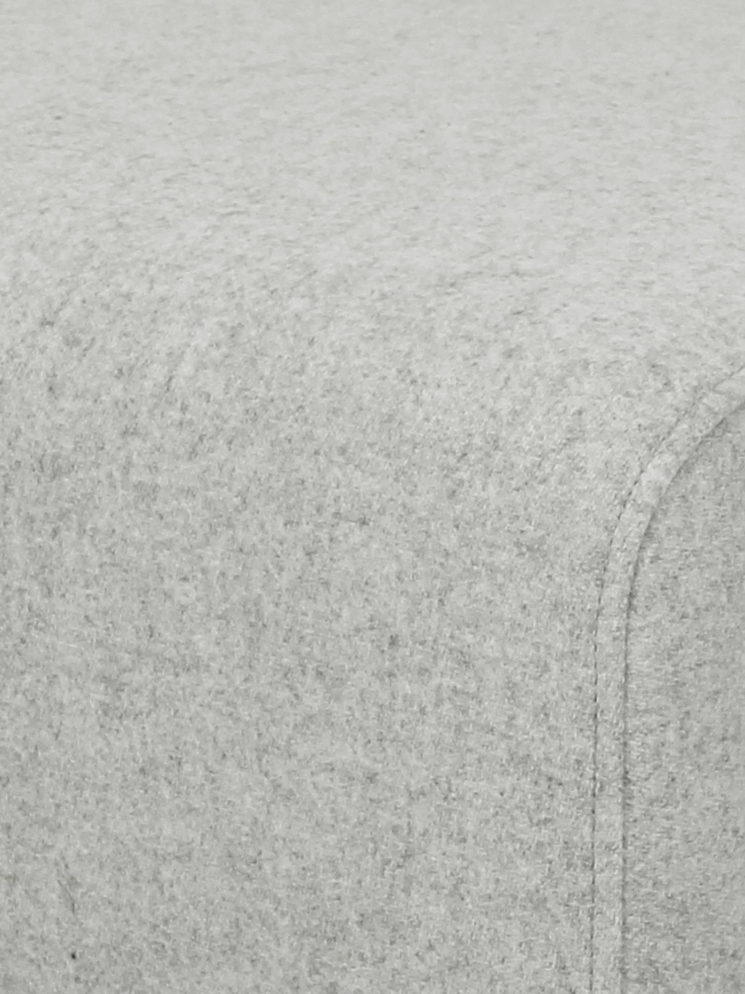 Hocker Archie mit Wollbezug, Bezug: 100% Wolle 30.000 Scheuer, Gestell: Kiefernholz, Füße: Massives Eichenholz, geöl, Webstoff Hellgrau, 87 x 45 cm