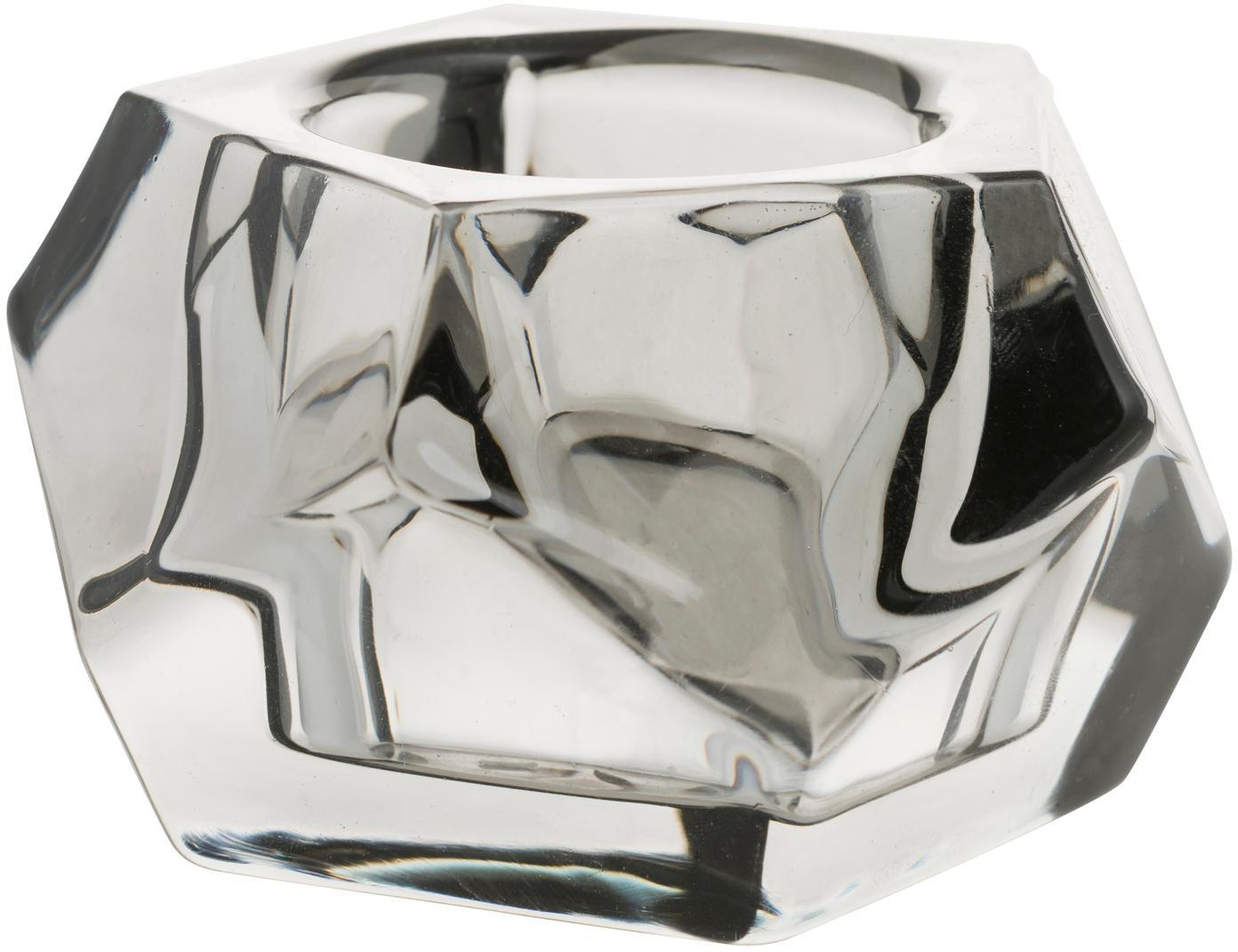 Teelichthalter Obesse, Glas, Grau, Ø 9 x H 6 cm