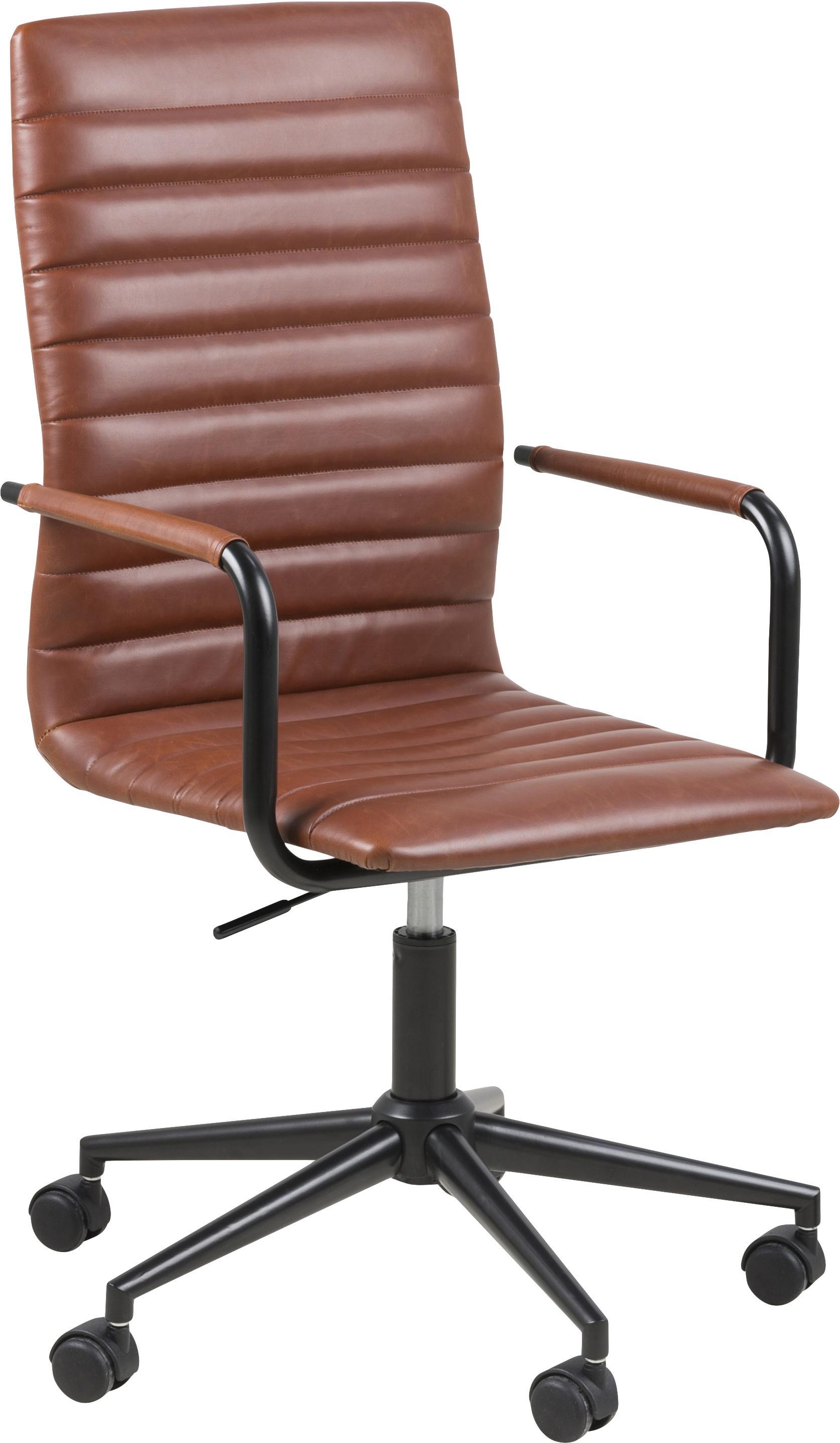 Kunstleren bureaustoel Winslow, in hoogte verstelbaar, Bekleding: kunstleer (polyurethaan), Poten: gepoedercoat metaal, Wieltjes: kunststof, Cognackleurig, B 45 x D 58 cm