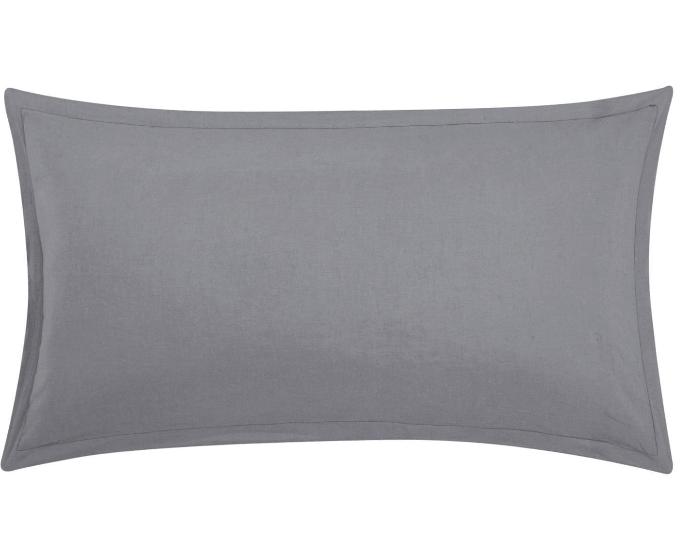 Poszewka na poduszkę z lnu z efektem sprania Nature, 2 szt., Ciemny szary, S 40 x D 80 cm