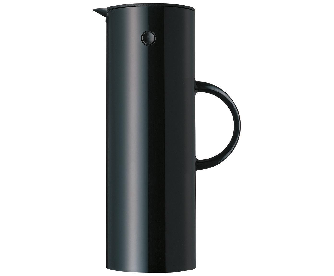 Brocca isotermica in nero lucido EM77, Esterno: acciaio inossidabile, riv, Interno: materiale sintetico ABS c, Nero, 1 l