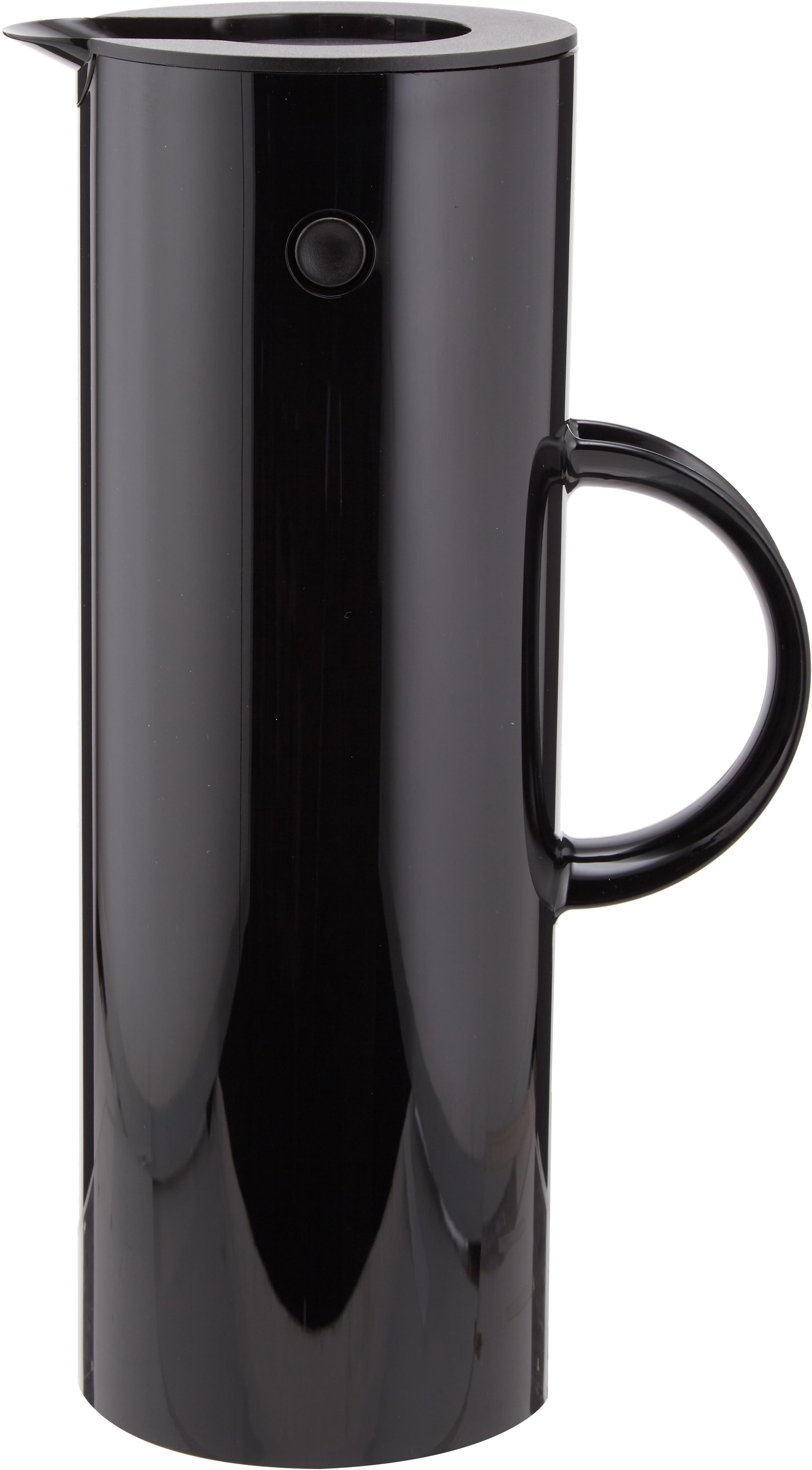 Thermoskan EM77 in zwart glanzend, ABS, aan de binnenkant met glazen inleg, Zwart, 1 l