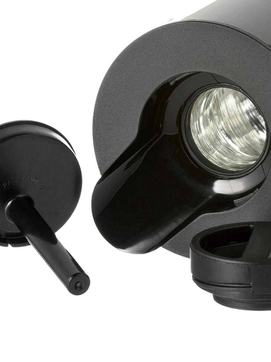 Isolierkanne EM77 in Schwarz glänzend, ABS-Kunststoff, im Inneren mit Glaseinsatz, Schwarz, 1 L