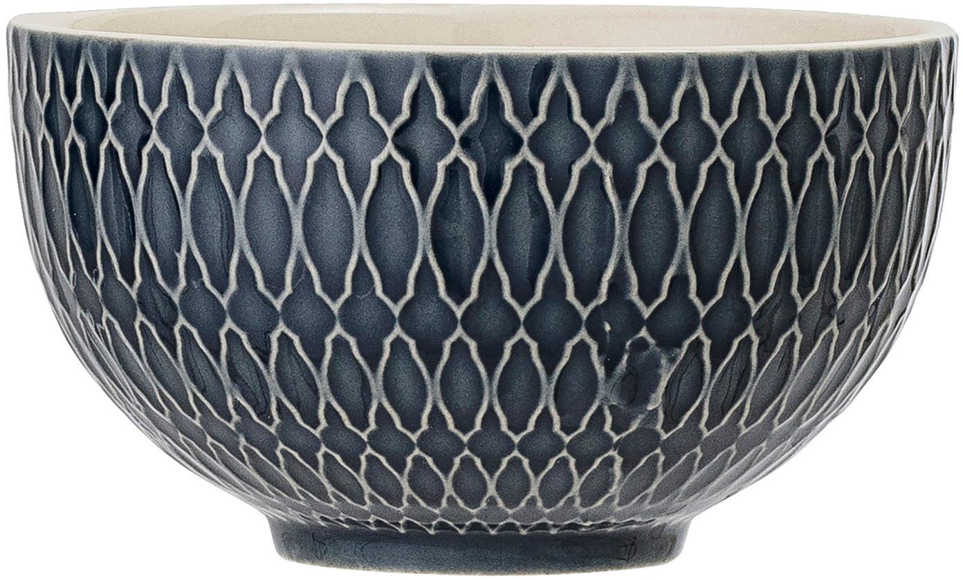 Cuencos Naomi, 4uds., Gres, Azul, blanco, Ø 12 x Al 7 cm