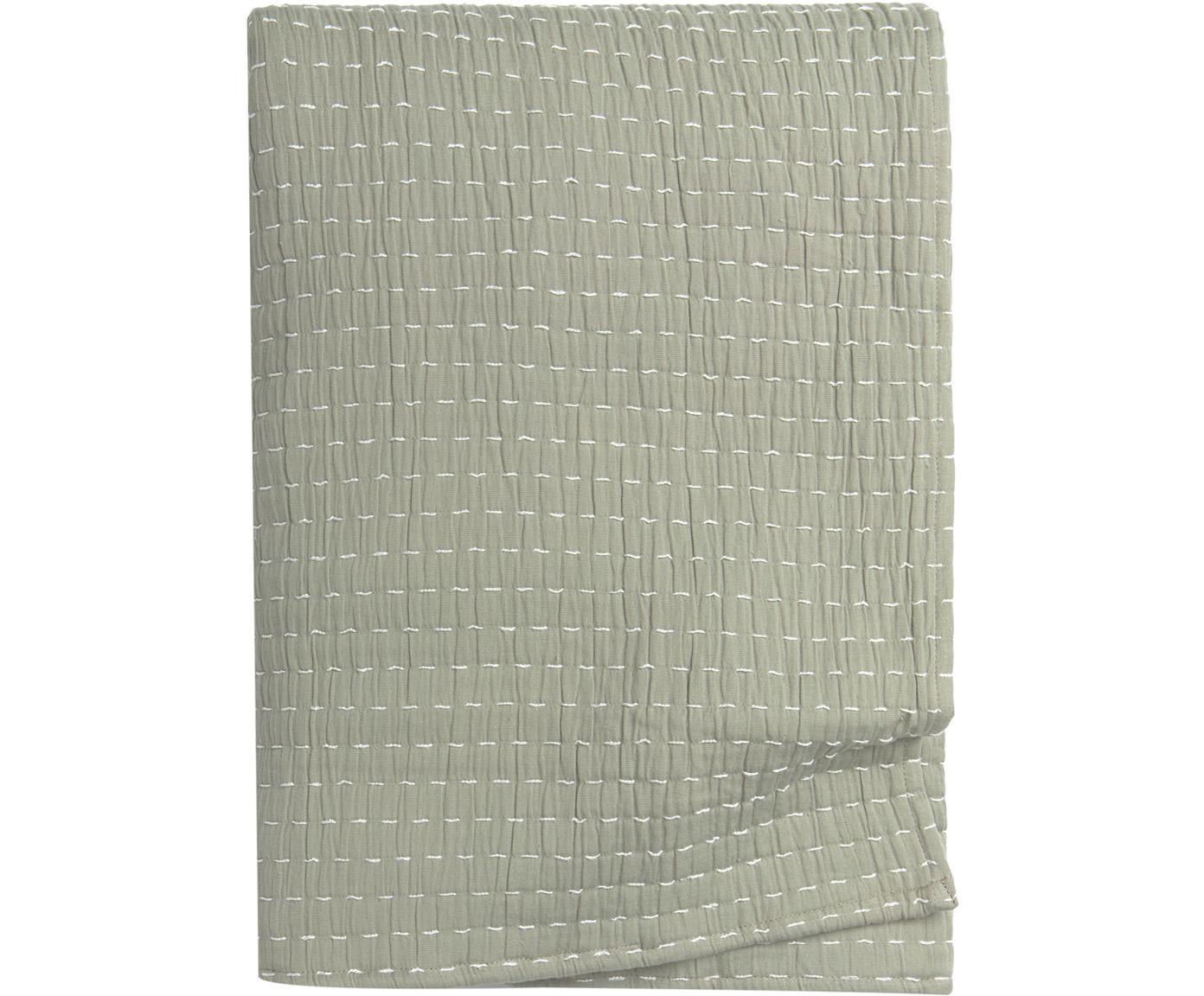 Copriletto Agata, 100% cotone, Verde chiaro, Larg. 180 x Lung. 260 cm