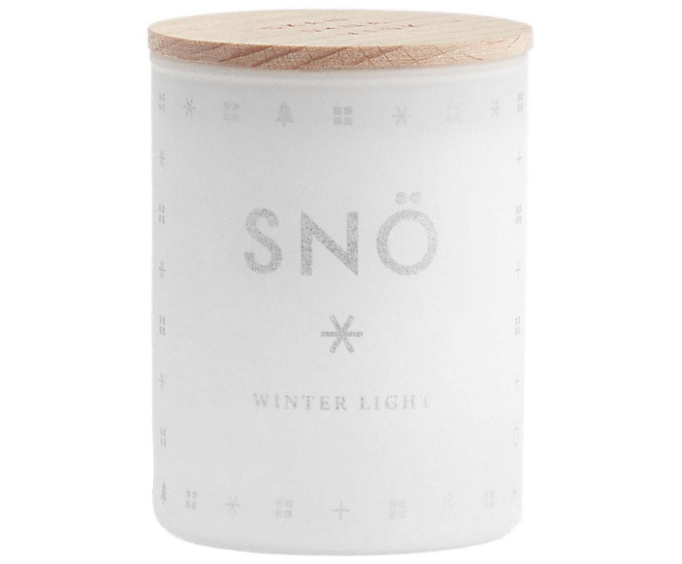 Świeca zapachowa Snö (zimowe jagody & drewno naturalne), Biały Pokrywka: drewno bukowe, Ø 4 x W 6 cm