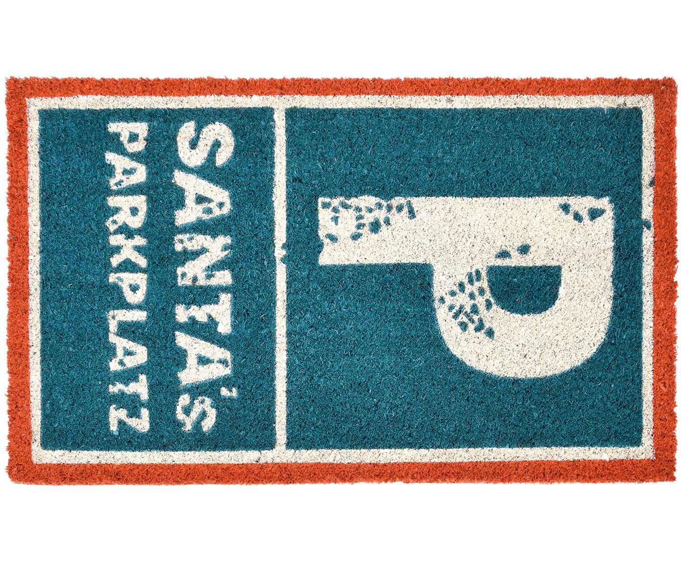Fußmatte Parkplatz, Oberseite: Kokosfaser, Unterseite: PVC, Blau, Rot, Weiß, 45 x 75 cm