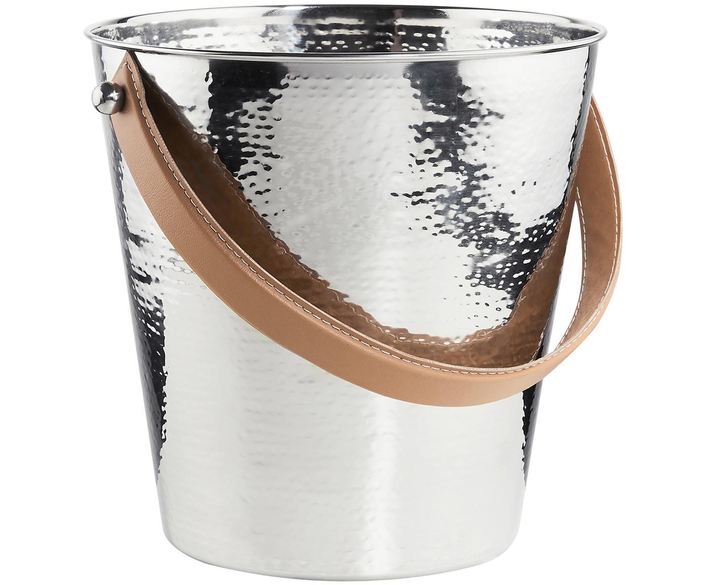 Flaschenkühler Lord in Silber, Griff: Kunstleder, Edelstahl, Ø 24 x H 24 cm