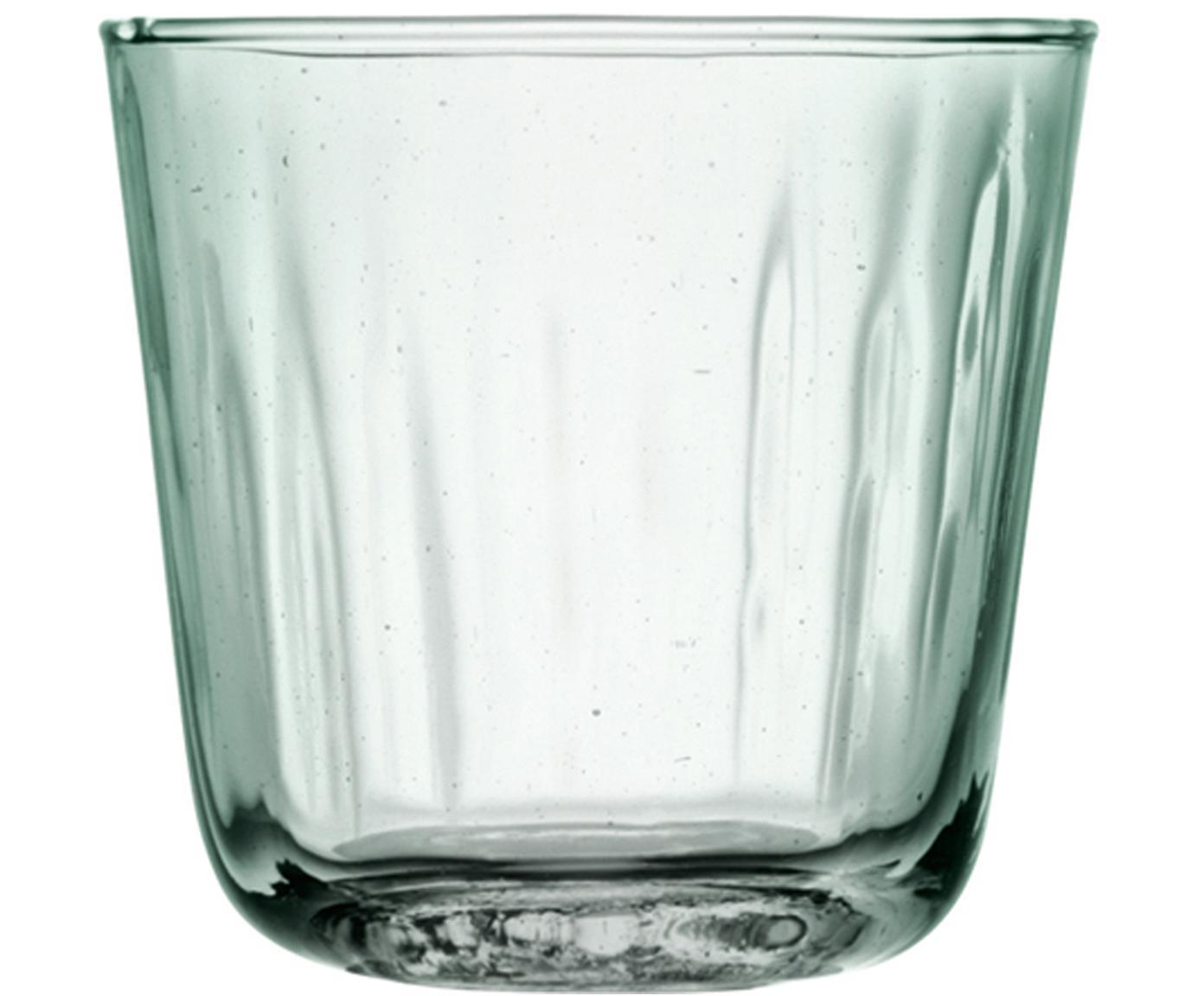 Vasos con relive Mia, 4uds., Vidrio reciclado, Turquesa, transparente, Ø 9 x Al 8 cm
