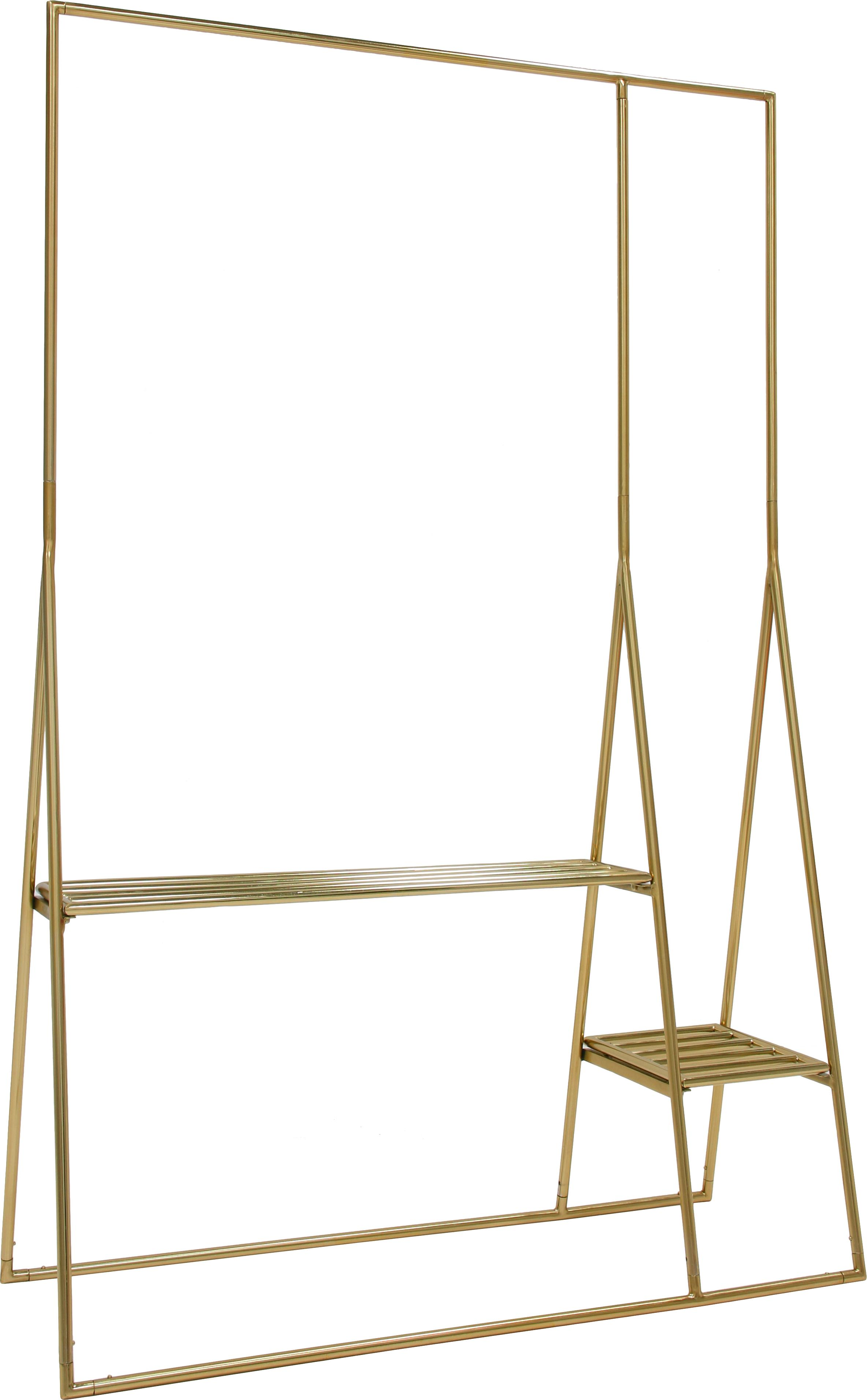 Kledingrek Stacker, Gecoat metaal, Messingkleurig, 125 x 190 cm